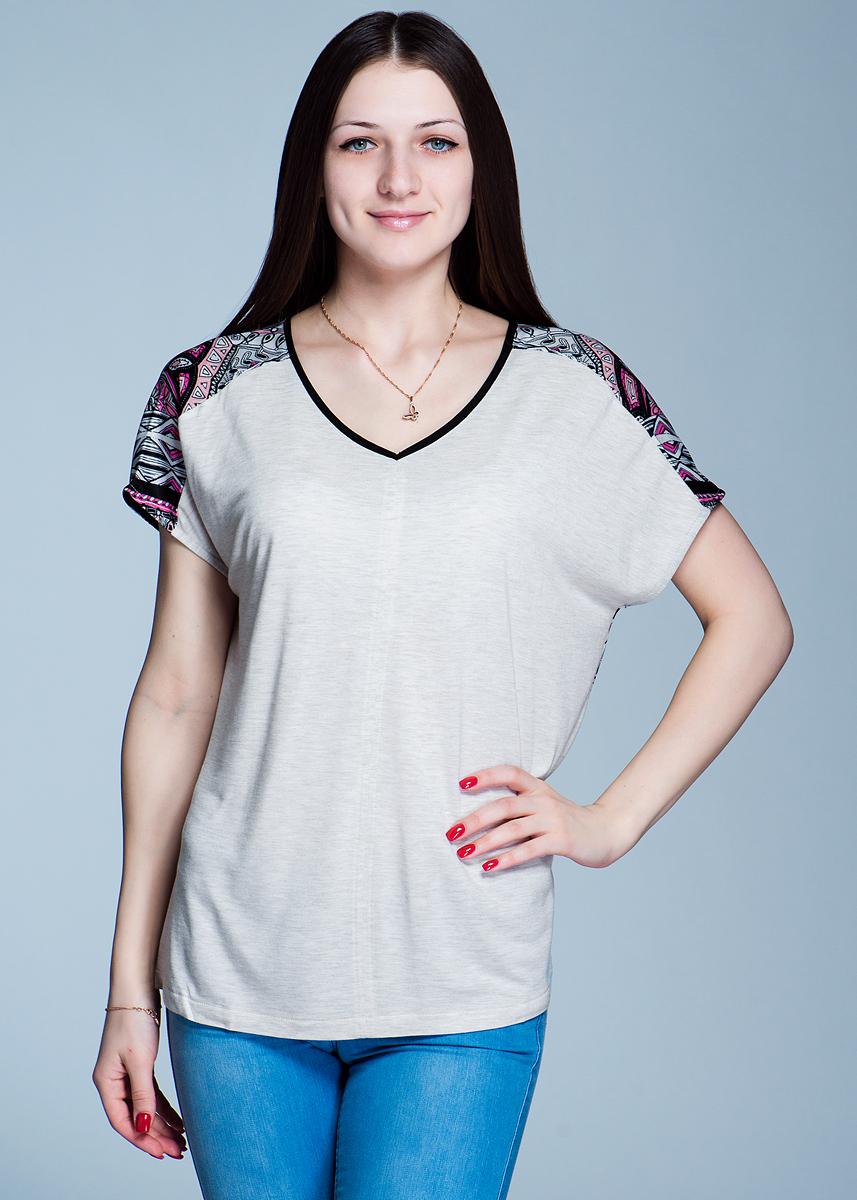 Футболка женская. 1110158411101584Симпатичная женская футболка Olsen, выполненная из высококачественного материала, - находка для современной женщины, желающей выглядеть стильно и модно. Модель свободного кроя с удобным V-образным вырезом горловины и короткими рукавами. Такая футболка, несомненно, вам понравится и послужит отличным дополнением к вашему гардеробу.