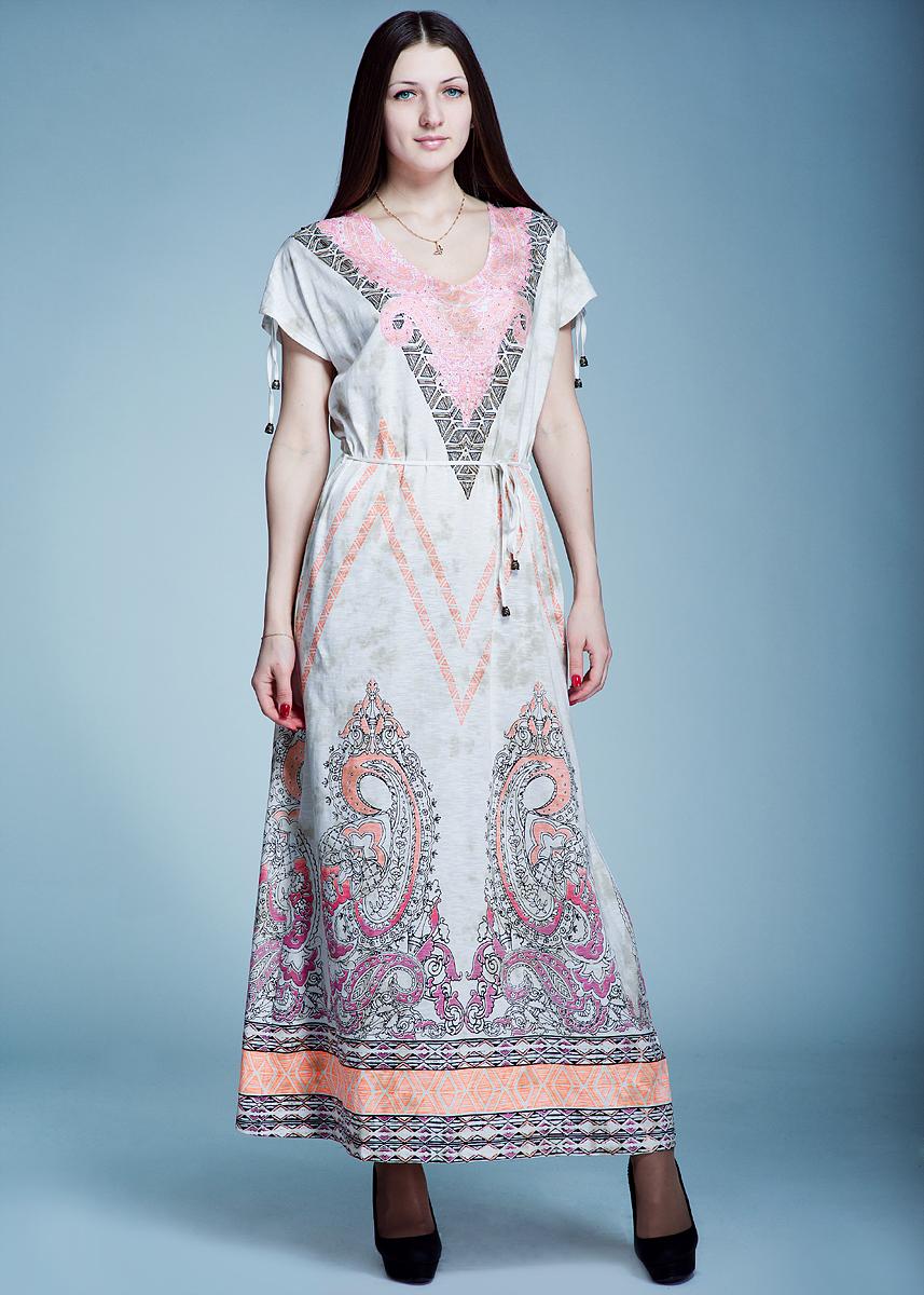 Платье. 1300116313001163Симпатичное летнее платье Olsen, выполненное из высококачественного материала, покорит своим лаконичным дизайном. Модель свободного кроя с короткими рукавами, V-образным вырезом горловины, оформлена оригинальным рисунком и расшита бисером, стеклярусом. На талии завязывается текстильный поясок. Это модное и в тоже время комфортное платье послужит отличным дополнением к вашему гардеробу. В нем вы всегда будете чувствовать себя уютно и комфортно.