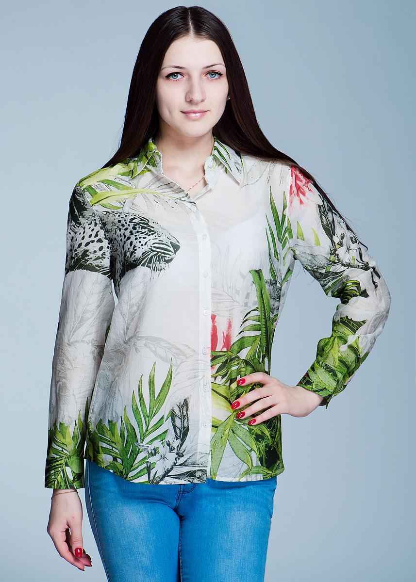 Блуза. 1200112812001128Очаровательная блуза ICHI, выполненная из хлопка с добавлением шелка, подчеркнет ваш безупречный вкус. Изделие прямого кроя с полукруглым низом, отложным воротничком и длинными рукавами застегивается на пуговицы по всей длине. Манжеты также застегиваются на пуговицы. Модель оформлена растительным принтом. Такая блуза займет достойное место в вашем гардеробе.