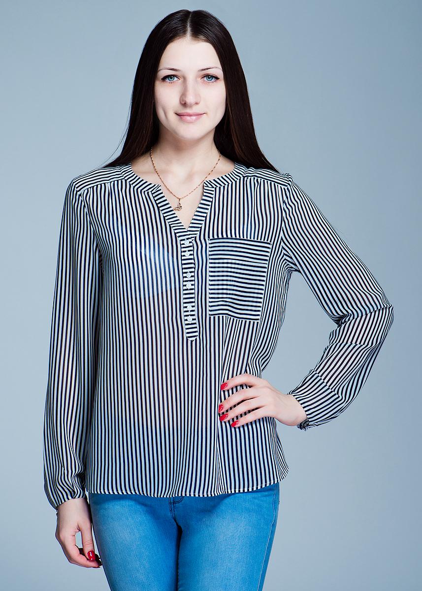 Блуза. 1200112912001129Симпатичная женская блуза Olsen выполнена из полупрозрачного полиэстера в полоску. Модель свободного кроя с V-образным вырезом горловины и длинными рукавами застегивается на пуговицы до середины длины изделия. На груди дополнена накладным карманом. Такая модель будет дарить вам комфорт в течение всего дня и послужит замечательным дополнением к вашему гардеробу.