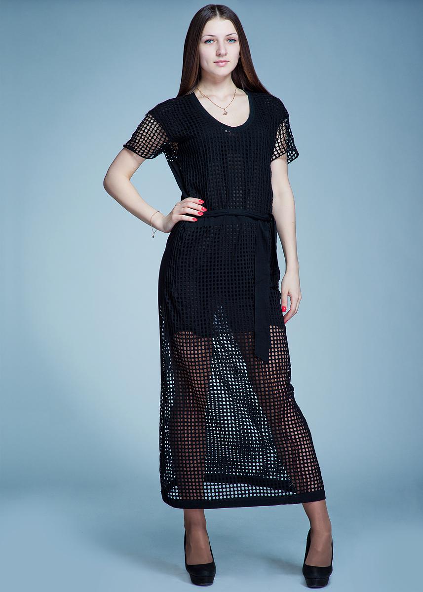 ПлатьеB114 SP D47Стильное платье макси длины выполнено из хлопка и полиэстера и оформлено декоративной перфорацией. Модель приталенного силуэта с короткими рукавами и круглым вырезом горловины. На талии платье завязывается на пояс. В таком платье вы будете выглядеть эффектно и ярко.