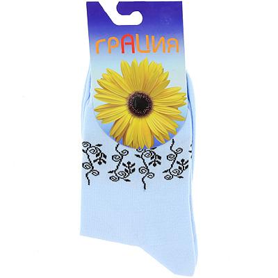 НоскиМ 1014Женские носки Грация изготовлены из высококачественного сырья. Невесомый хлопок позволяет ногам дышать. Комфортная широкая резинка не сдавливает и комфортно облегает ногу. Обладают повышенной прочностью, благодаря усиленной пятке и мыску. На паголенке носки оформлены оригинальным узором.
