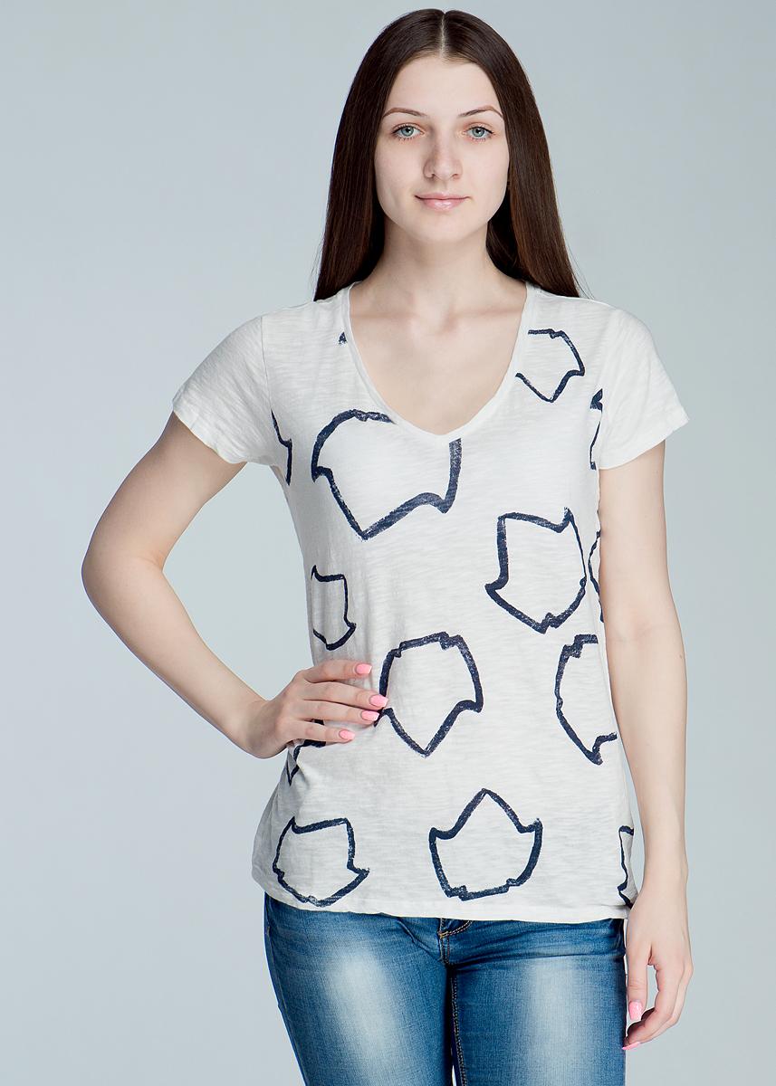 Футболка женская V Neck Tee. L40L40DAU05Стильная женская футболка Lee V Neck Tee, выполненная из высококачественного материала, - находка для современной женщины, желающей выглядеть стильно. Модель прямого кроя с удобным V-образным вырезом горловины и короткими рукавами, оформлена оригинальным принтом. Такая футболка, несомненно, вам понравится и послужит отличным дополнением к вашему гардеробу.