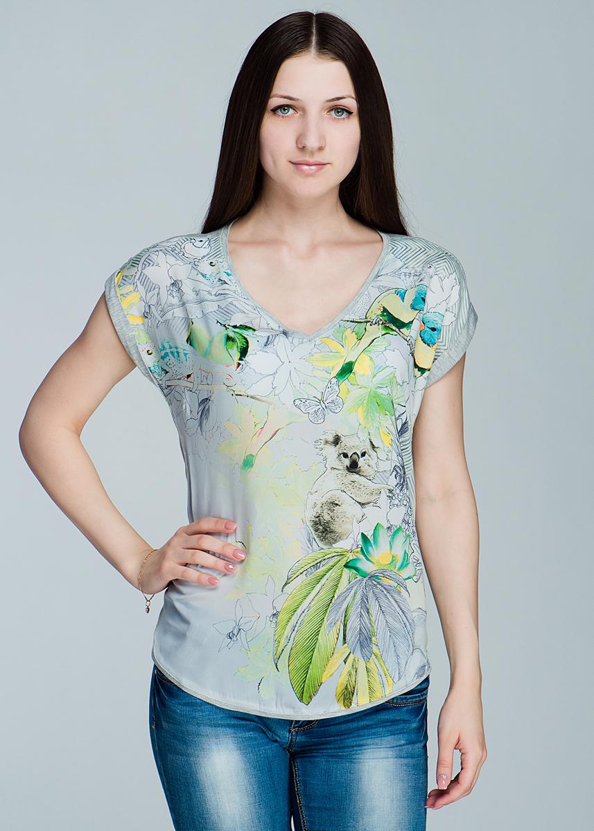 Футболка женская. 1110162111101621Симпатичная женская футболка Olsen, выполненная из высококачественного материала, обладает высокой теплопроводностью, воздухопроницаемостью, очень приятна к телу. Модель прямого кроя, с короткими рукавами, полукруглым низом - идеальный вариант для создания образа в стиле Casual. Футболка оформлена оригинальным принтом, а рукава оформлены подворотами. Лаконичный дизайн и совершенство стиля подчеркнут вашу индивидуальность.