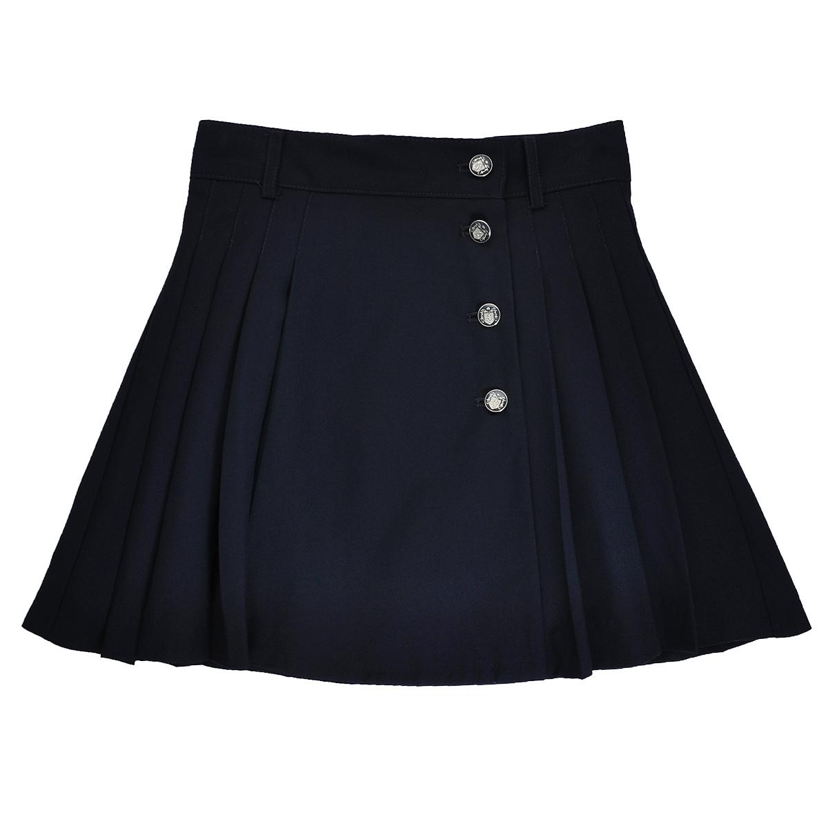 Юбка для девочки. SS-B-G-1010SS-B-G-1010_003Стильная юбка для девочки Silver Spoon идеально подойдет для школы. Изготовленная из высококачественного материала с добавлением вискозы, она необычайно мягкая и приятная на ощупь, не сковывает движения и позволяет коже дышать, не раздражает даже самую нежную и чувствительную кожу ребенка, обеспечивая ему наибольший комфорт. На подкладке используется гладкая подкладочная ткань. Юбка с запахом застегивается на металлические пуговицы. При необходимости пояс можно утянуть скрытой резинкой на пуговках. Имеются шлевки для ремня. По бокам модель дополнена кокетливыми складками. В сочетании с любым верхом, эта юбка выглядит красиво, и очень эффектно.