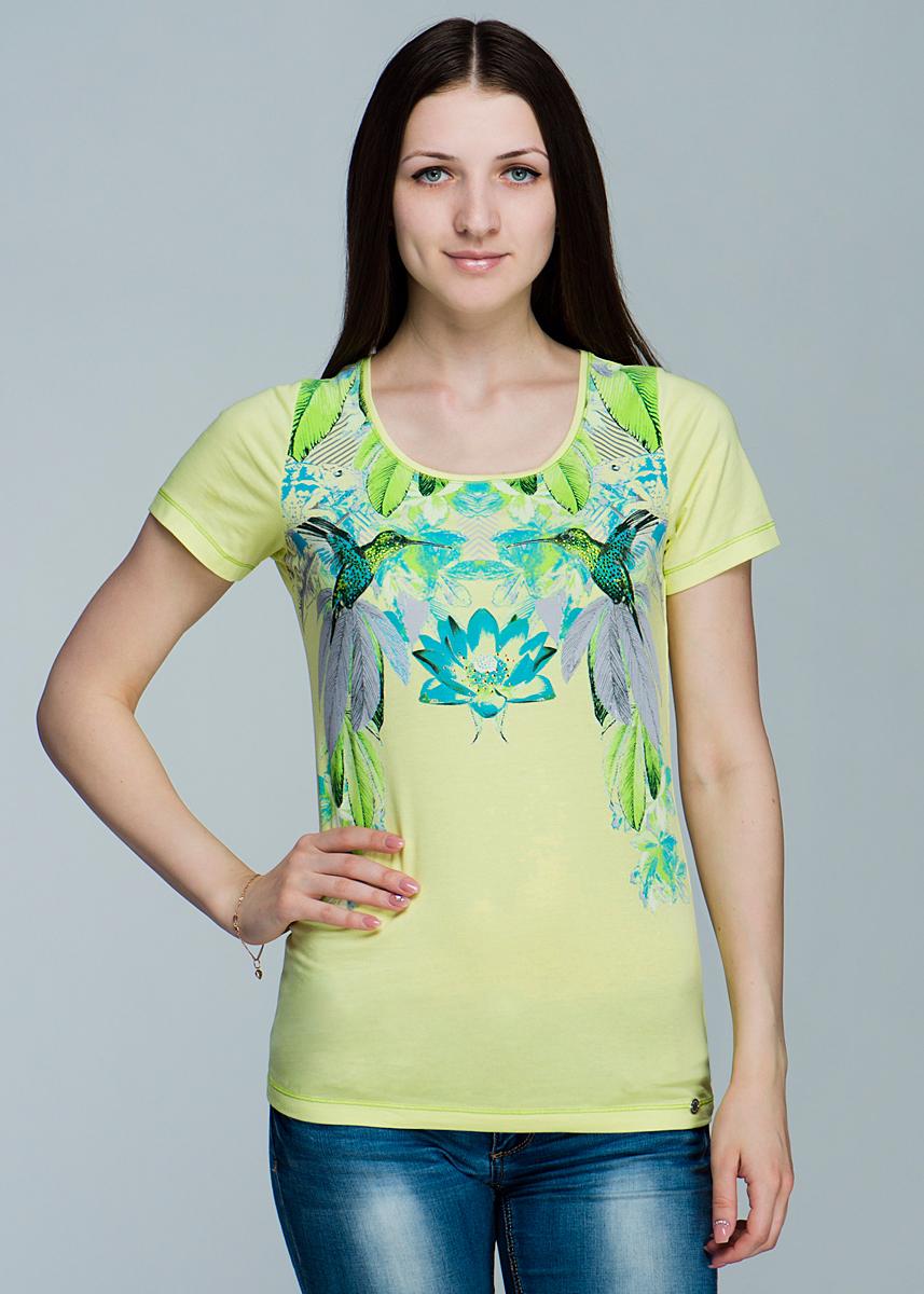 Футболка женская. 1110162211101622Симпатичная женская футболка Olsen, выполненная из высококачественного материала, обладает высокой теплопроводностью, воздухопроницаемостью, очень приятна к телу. Модель приталенного кроя, с короткими рукавами, круглым вырезом горловины - идеальный вариант для создания образа в стиле Casual. Футболка оформлена оригинальным принтом и украшена стразами. Лаконичный дизайн и совершенство стиля подчеркнут вашу
