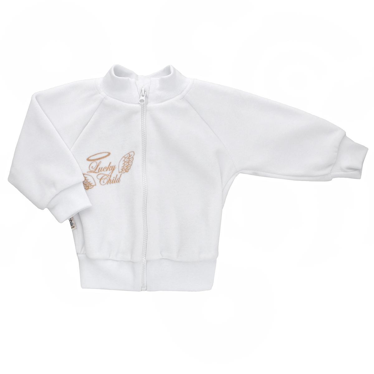Распашонка17-18Кофточка для новорожденного Lucky Child Ангелы с длинными рукавами-реглан послужит идеальным дополнением к гардеробу вашего малыша, обеспечивая ему наибольший комфорт. Изготовленная из велюра, она необычайно мягкая и легкая, не раздражает нежную кожу ребенка и хорошо вентилируется, а эластичные швы приятны телу малыша и не препятствуют его движениям. Удобная застежка-молния по всей длине помогает легко переодеть младенца. Рукава, низ изделия и горловина дополнены широкими трикотажными резинками. Кофточка на груди оформлена надписью в виде логотипа бренда и изображением крылышек, а на спинке дополнена текстильными крылышками, вышитыми металлизированной нитью. Кофточка полностью соответствует особенностям жизни ребенка в ранний период, не стесняя и не ограничивая его в движениях. В ней ваш малыш всегда будет в центре внимания.