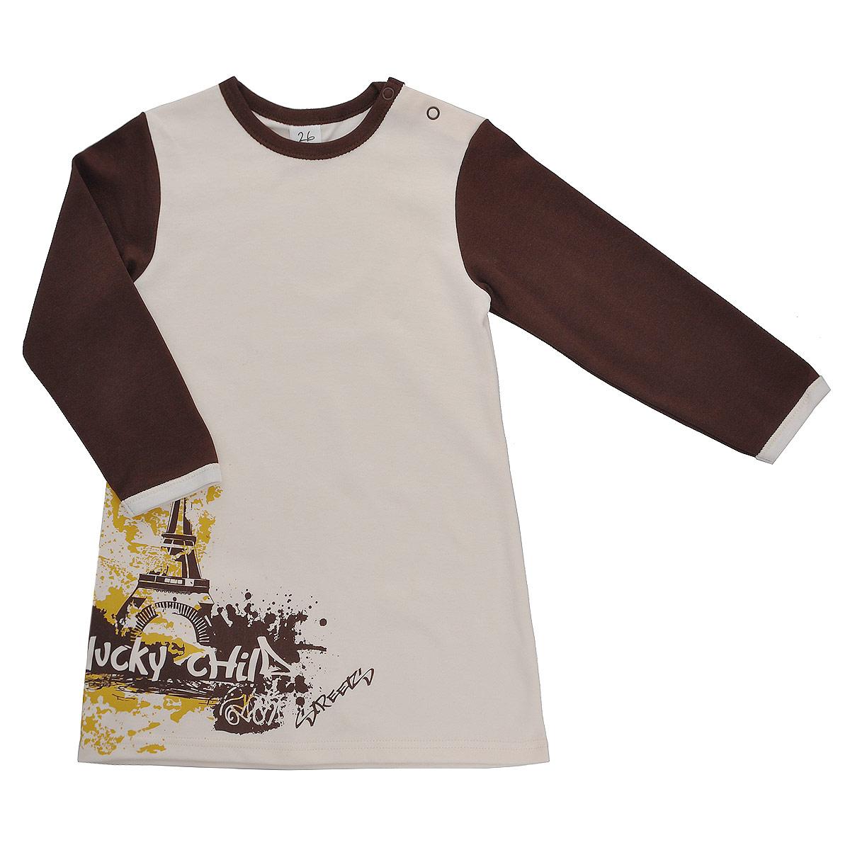 Платье16-6Платье для девочки Lucky Child Город послужит идеальным дополнением к гардеробу вашей малышки, обеспечивая ей наибольший комфорт. Изготовленное из натурального хлопка, оно необычайно мягкое и легкое, не раздражает нежную кожу ребенка и хорошо вентилируется, а эластичные швы приятны телу ребенка и не препятствуют его движениям. Платье с длинными рукавами и круглым врезом горловины имеет кнопки по плечу, которые позволяют без труда переодеть малышку. Спереди оно оформлено оригинальным «городским» принтом. Платье полностью соответствует особенностям жизни ребенка в ранний период, не стесняя и не ограничивая его в движениях.