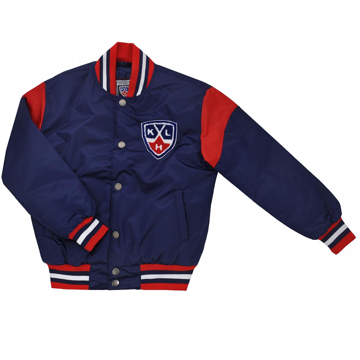 Куртка с логотипом ХК270510Спортивная детская куртка Atributika & Club подчеркнет индивидуальность вашего любителя хоккея. Модель с воротником-стойкой застегивается на металлические кнопки. Спереди куртка дополнена двумя прорезными карманами, застегивающимися на кнопки. Ворот куртки, манжеты рукавов и низ изделия дополнены эластичной трикотажной резинкой, которая препятствует проникновению холодного воздуха. Имеются два внутренних прорезных кармана. Модель оформлена контрастными вставками, цветными полосами на резинках и вышивкой на груди в виде логотипа КХЛ. Такая куртка станет прекрасным дополнением к гардеробу юного хоккейного болельщика!