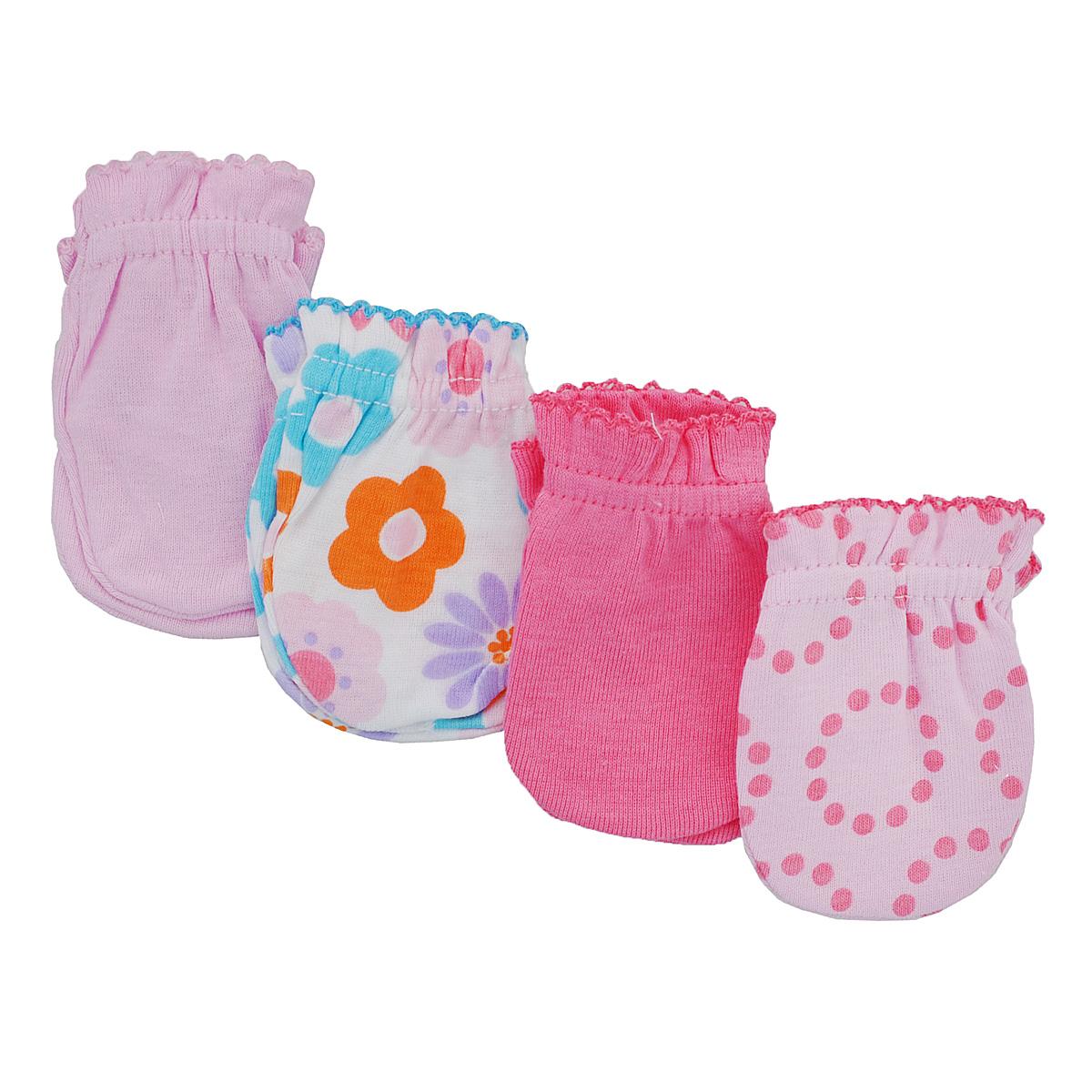 Варежки детские34711Рукавички для новорожденного Luvable Friends, изготовленные из натурального хлопка, идеально подойдут вашему малышу и обеспечат ему комфорт во время сна и бодрствования, предохраняя нежную кожу новорожденного от расцарапывания. В комплект входят четыре пары рукавичек.