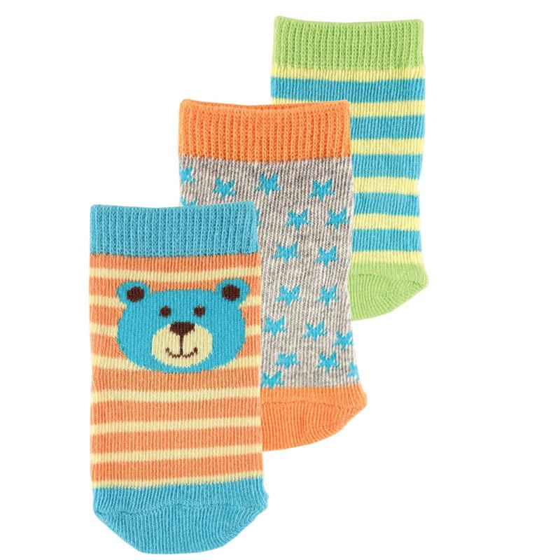 02321Комфортные, красивые и прочные детские носки Luvable Friend Animal Face очень мягкие на ощупь, а эластичная резинка плотно облегает ножку ребенка, не сдавливая ее, благодаря чему малышу будет комфортно и удобно. На носочках изображены забавные животные. Комплект состоит из трех пар носочков с различной цветовой гаммой.