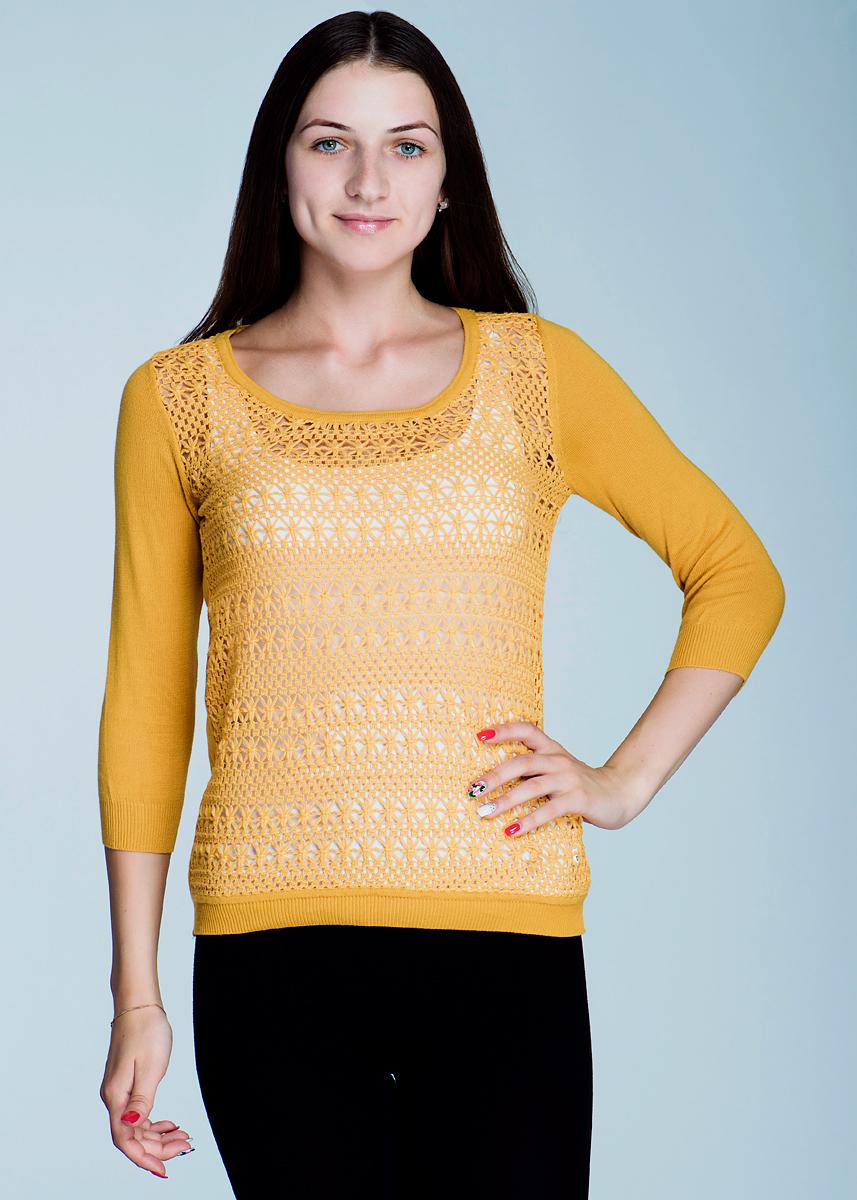 Пуловер женский. 2462J092462J09Стильный женский пуловер Viriato, изготовленный из хлопковой пряжи, мягкий и приятный на ощупь, не сковывает движения, обеспечивая наибольший комфорт. Пуловер свободного кроя с круглым вырезом горловины и рукавами 3/4. Передняя планка выполнена ажурной вязкой. Манжеты рукавов и низ изделия связаны мелкой резинкой. Этот пуловер - практичная вещь, которая, несомненно, впишется в ваш гардероб, в нем вы будете чувствовать себя уютно и комфортно.