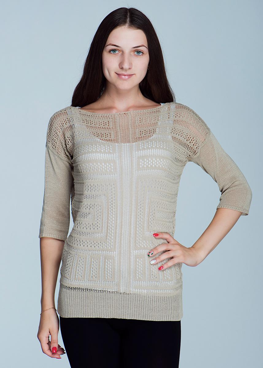 Пуловер женский. 2462J342462J34Стильный и легкий женский пуловер Viriato, изготовленный из пряжи с добавлением акрила, мягкий и приятный на ощупь, не сковывает движения, обеспечивая наибольший комфорт. Пуловер свободного кроя с круглым вырезом горловины и рукавами 3/4 выполнен ажурной вязкой. Этот пуловер - практичная вещь, которая, несомненно, впишется в ваш гардероб, в нем вы будете чувствовать себя уютно и комфортно.