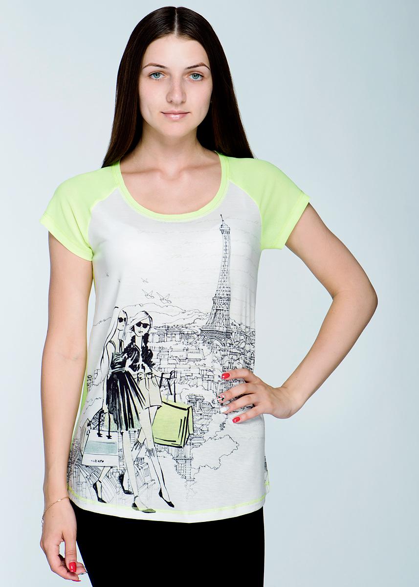 Футболка2464Т55Великолепная женская футболка Viriato, изготовленная из легкого материала, необычайно мягкая и приятная на ощупь, не сковывает движения, обеспечивая наибольший комфорт. Футболка свободного кроя с короткими рукавами-реглан и круглым вырезом горловины спереди оформлена оригинальным принтом с изображением девушек, гуляющих по Парижу. Задняя планка и рукава выполнены из струящегося шифона. Эта футболка очень женственна и элегантна, дополнит любой образ.