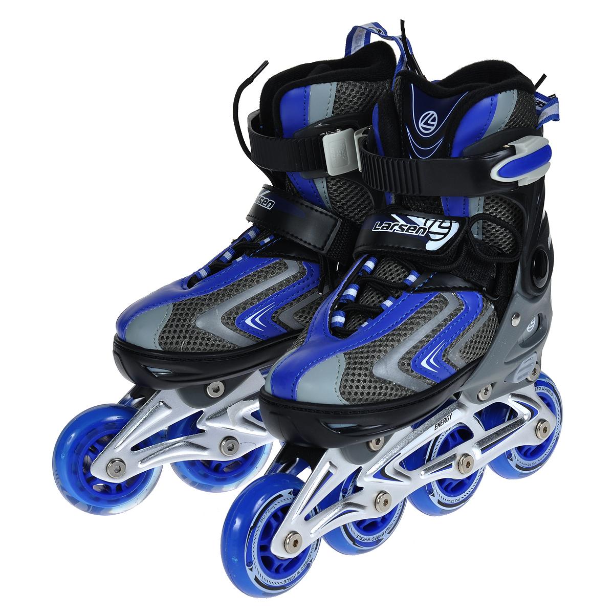Коньки роликовые Energy, раздвижныеEnergy GРаздвижные роликовые коньки Larsen Energy подарят чувство комфорта и уверенности во время движения. Особенностью роликов является раздвижная конструкция на 4 размера, которая разработана для того, чтобы не было необходимости покупать новые ролики каждый сезон. Ролики имеют ботинок с удобными застежками, защищающий ногу от травм, оснащены пяточным тормозом. Рама выполнена из прочного алюминия, а колеса - из полиуретана с подшипниками ABEC-5. Ролики - это модный и полезный вид активного отдыха на свежем воздухе. Катание на роликах является одним из популярных развлечений среди молодежи и детей.