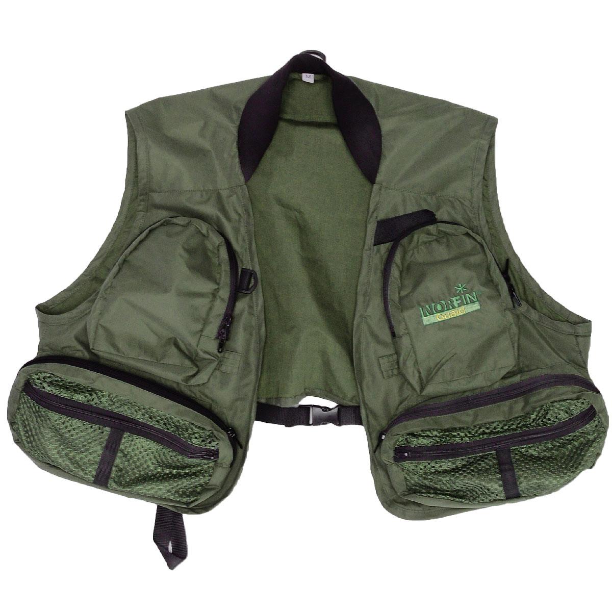 Жилет для рыбалки и охоты1480Рыболовный жилет Norfin Guaid - универсальный и практичный элемент одежды для любого вида рыбной ловли, как для опытных, так и для начинающих рыбаков. Он сшит из легкого и прочного мембранного материала, удобен в носке и не стесняет движений при забросе приманки. Легкий и удобный, он снизит теплопотери и придаст комфорта, оставит рукам свободу маневра. Жилет с мягким трикотажным воротником спереди застегивается на пластиковый карабин. На груди жилет дополнен двумя накладными объемными карманами на застежке-молнии с двойным бегунком, которые с внутренней стороны имеют искусственный мех для крепления мух. Низ модели также дополнен двумя накладными объемными карманами и двумя сетчатыми карманами с перегородками на застежке-молнии. Также предусмотрены два кармана для согрева рук. Спина дополнена большим прорезным карманом на застежке-молнии. С внутренней стороны также предусмотрены карманы: три прорезных кармана на застежке-молнии и накладной карман на липучке и два небольших...
