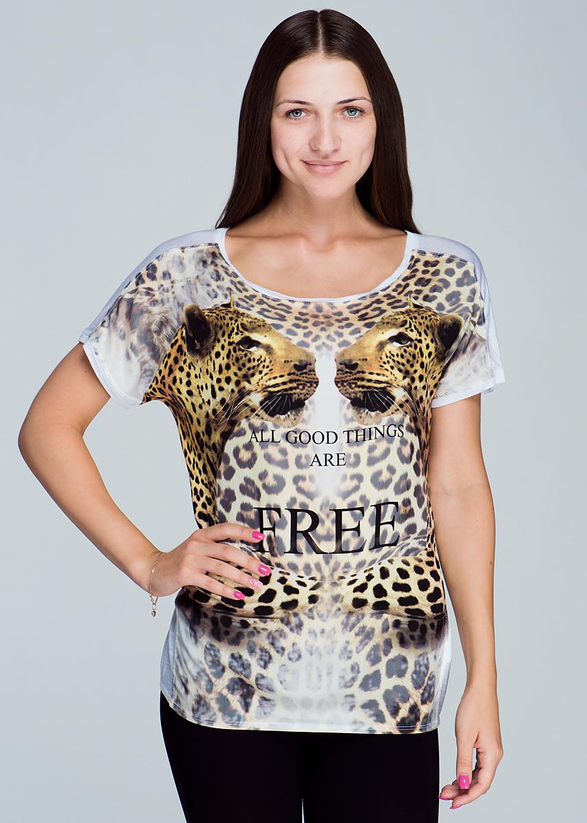 Футболка8307-242Симпатичная женская футболка Malvin, выполненная из высококачественного материала, очень приятна к телу. Легкая модель свободного кроя с короткими рукавами, с круглым вырезом горловины - идеальный вариант для создания образа в стиле Casual. Низ модели дополнен эластичной вставкой. Футболка оформлена ярким принтом и надписями. Лаконичный дизайн и совершенство стиля подчеркнут вашу индивидуальность.