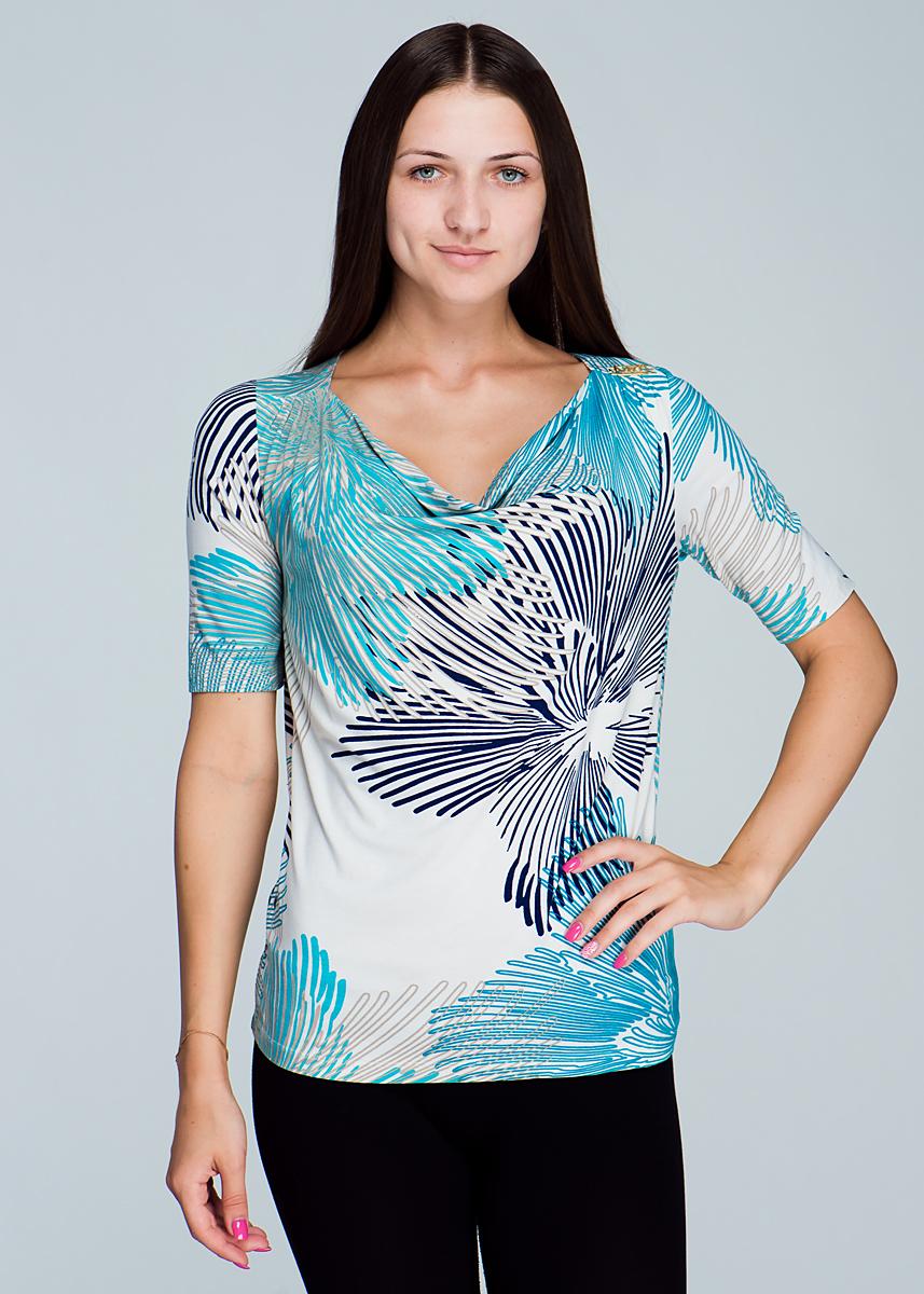 Футболка2464T53Стильная женская футболка Viriato, выполненная из высококачественного материала, - находка для современной женщины, желающей выглядеть стильно и модно. Модель облегающего кроя с рукавами 1/2 и вырезом горловины-качели будет отлично на вас смотреться. Плечи оформлены небольшими складочками . Такая модель, несомненно, вам понравится и послужит отличным дополнением к вашему гардеробу.