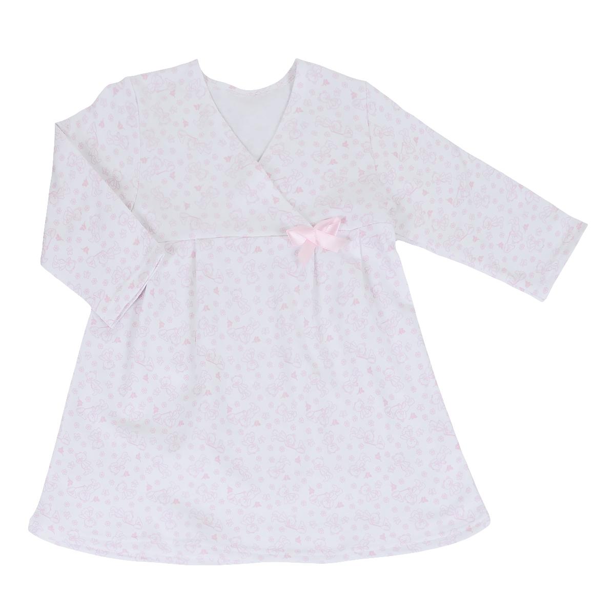 5522Яркая сорочка Трон-плюс идеально подойдет вашей малышке и станет отличным дополнением к детскому гардеробу. Теплая сорочка, изготовленная из футера - натурального хлопка, необычайно мягкая и легкая, не сковывает движения ребенка, позволяет коже дышать и не раздражает даже самую нежную и чувствительную кожу малыша. Сорочка трапециевидного кроя с длинными рукавами, V-образным вырезом горловины. Полочка состоит из двух частей, заходящих друг на друга. По переднему и заднему полотнищам юбки заложены небольшие складки. Сорочка оформлена атласным бантиком. В такой сорочке ваш ребенок будет чувствовать себя комфортно и уютно во время сна.