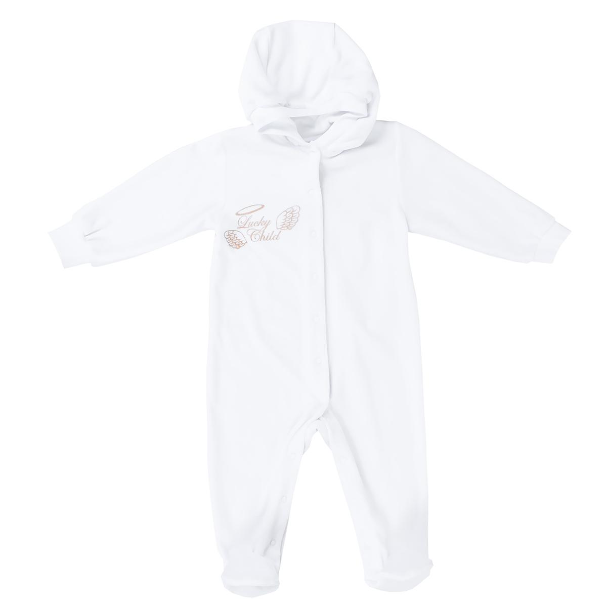 17-3Детский комбинезон Lucky Child Ангелы - очень удобный и практичный вид одежды для малышей. Комбинезон выполнен из велюра, благодаря чему он необычайно мягкий и приятный на ощупь, не раздражает нежную кожу ребенка и хорошо вентилируется, а эластичные швы приятны телу малыша и не препятствуют его движениям. Комбинезон с капюшоном, длинными рукавами и закрытыми ножками имеет застежки-кнопки от горловины до щиколоток, которые помогают легко переодеть младенца или сменить подгузник. Край капюшона и рукава дополнены трикотажными резинками. Комбинезон на груди оформлен надписью в виде логотипа бренда и изображением крылышек, а на спинке дополнен текстильными крылышками, вышитыми металлизированной нитью. С детским комбинезоном Lucky Child спинка и ножки вашего малыша всегда будут в тепле, он идеален для использования днем и незаменим ночью. Комбинезон полностью соответствует особенностям жизни младенца в ранний период, не стесняя и не ограничивая его в движениях!