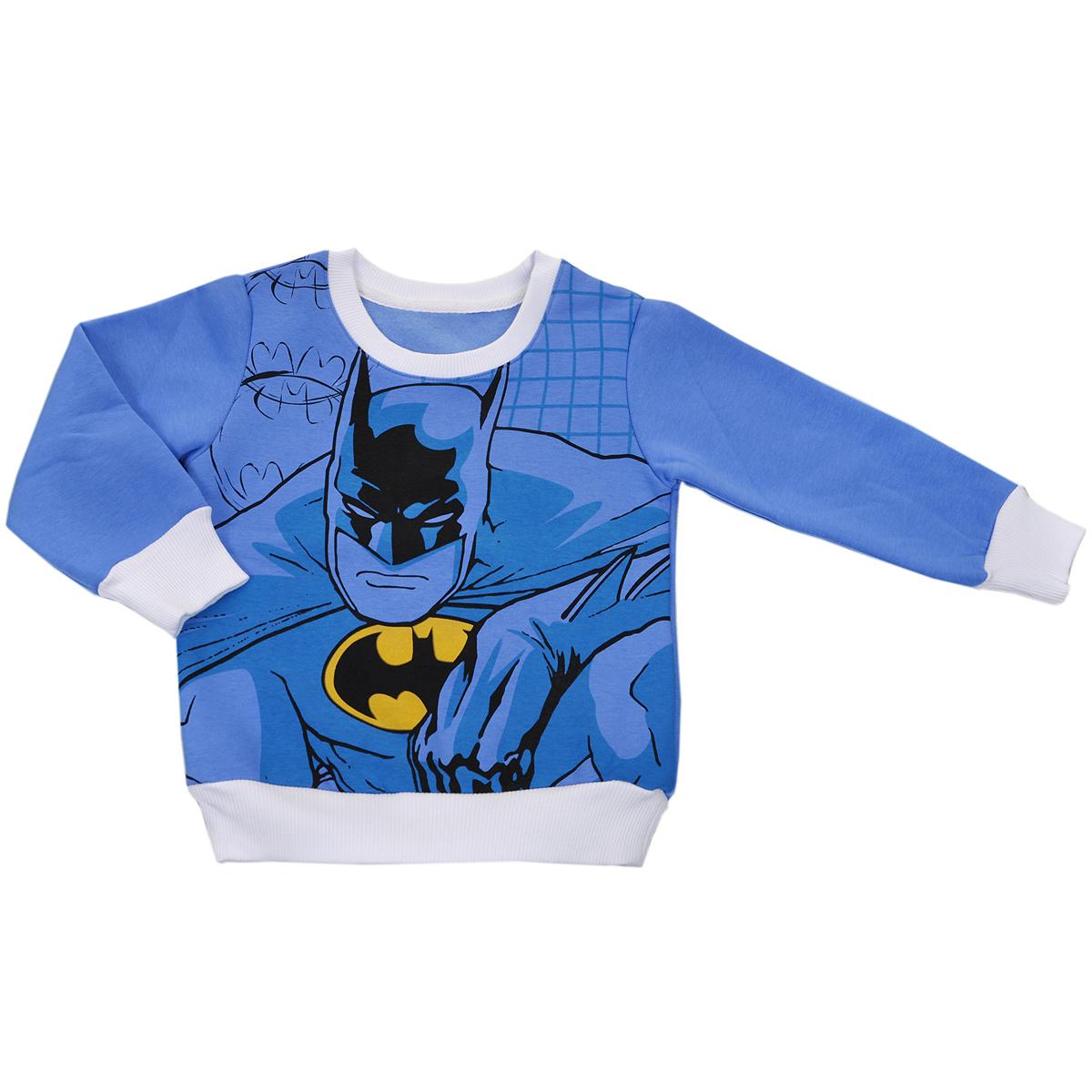 BM-SHB128-BLUВеликолепный детский джемпер для мальчика Batman идеально подойдет вашему ребенку. Изготовленный из натурального хлопка, он необычайно мягкий и приятный на ощупь, не сковывает движения малыша и позволяет коже дышать, не раздражает даже самую нежную и чувствительную кожу ребенка, обеспечивая ему наибольший комфорт. Лицевая сторона гладкая, а изнаночная - с мягким теплым начесом. Джемпер с длинными рукавами и круглым вырезом горловины оформлен ярким оригинальным принтом с изображением супергероя - Бэтмена. Горловина дополнена трикотажной эластичной вставкой. Рукава дополнены широкими трикотажными манжетами, не сжимающими запястья ребенка. Понизу проходит широкая трикотажная резинка. Оригинальный современный дизайн и модная расцветка делают этот джемпер модным и стильным предметом детского гардероба. В нем ваш ребенок будет чувствовать себя уютно и комфортно, и всегда будет в центре внимания!