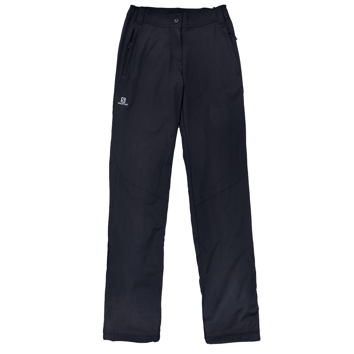 Брюки женские, утепленные Nova Softshell Pant W. L35178800L35178800Утепленные женские брюки Salomon Nova Softshell Pant W согреют вас в холодное время года. Эластичная ткань AdvancedSkin Shield с двойным плетением лучше защищает от ветра, но при этом остается мягкой и отлично пропускает воздух. Утеплитель Advan ced Skin Warm Insulate d 40 г/м2. Брюки Softshell имеют непродуваемый слой на передней части, тогда как задняя часть сделана из теплой, эластичной ткани. Идеально подходят для тренировок на морозе, а благодаря стилю Casual и карманам на молнии их можно носить куда угодно в зимний сезон. Классический покрой Regular fit обеспечивает комфорт при носке. Модель прямого покроя имеет ширинку на застежке-молнии, на поясе застегивается на металлическую кнопку, имеются шлевки для ремня. По бокам на поясе - эластичные резинки для лучшего прилегания. Брючины по бокам снизу дополнены застежками молниями. Имеются утяжки со стопперами. Утепленные брюки - вариант для тех, кто любит ощущать комфорт при занятии спортом или просто на прогулке в...