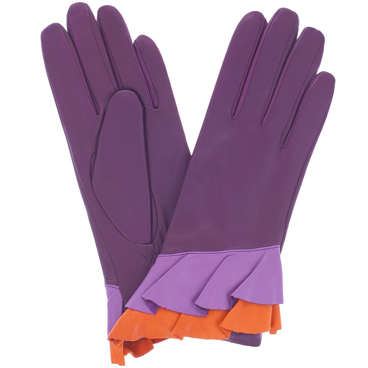 Перчатки женские. K11-GEREK11-GERE/BAI2Стильные перчатки Michel Katana с шерстяной подкладкой выполнены из мягкой и приятной на ощупь натуральной кожи ягненка. Манжеты с лицевой стороны оформлены двойной оборкой. Перчатки станут достойным элементом вашего стиля и сохранят тепло ваших рук. Это не просто модный аксессуар, но и уникальный авторский стиль, наполненный духом севера Франции.