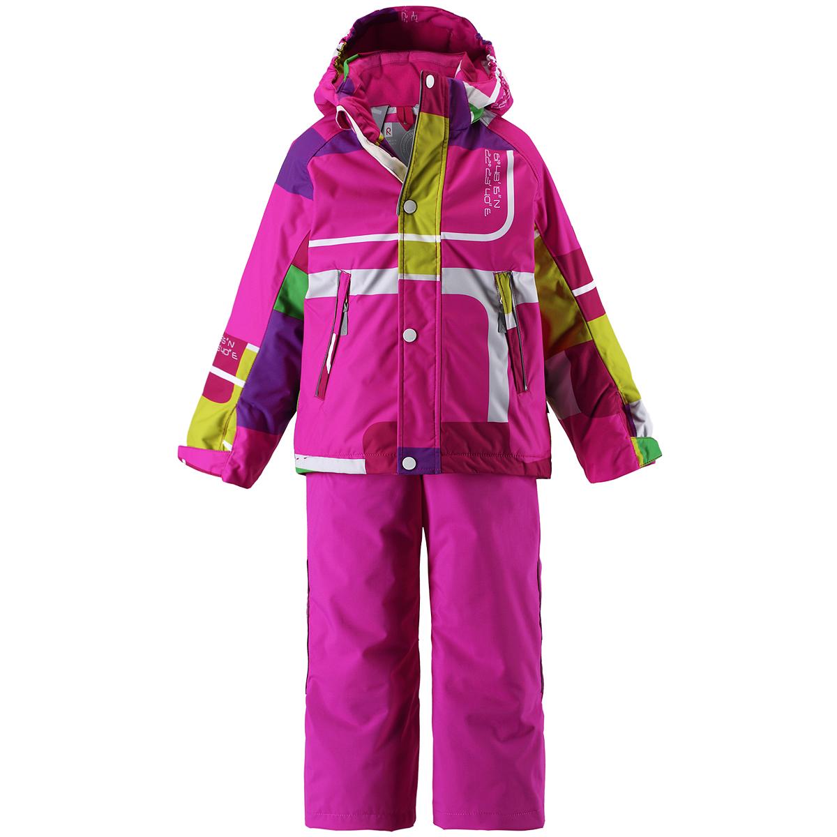 Комплект детский Sheratan: куртка, брюки. 523075523075_6519Теплый детский комплект Reimatec Sheratan, состоящий из куртки и брюк, идеально подойдет для ребенка в холодное время года. Комплект изготовлен из водоотталкивающей и ветрозащитной мембранной ткани с утеплителем из синтепона. Материал отличается высокой устойчивостью к трению, благодаря специальной обработке полиуретаном поверхность изделий отталкивает грязь и воду, что облегчает поддержание аккуратного вида одежды, дышащее покрытие с изнаночной части не раздражает даже самую нежную и чувствительную кожу ребенка, обеспечивая ему наибольший комфорт. Куртка с удлиненной спинкой и капюшоном застегивается на пластиковую застежку-молнию с защитой подбородка, благодаря чему ее легко надевать и снимать, и дополнительно имеет ветрозащитный клапан на кнопках. Капюшон, присборенный по бокам, защитит нежные щечки от ветра, он пристегивается к куртке при помощи кнопок. Края рукавов дополнены хлястиком на липучке, с помощью которого можно регулировать обхват. Мягкая подкладка на воротнике...
