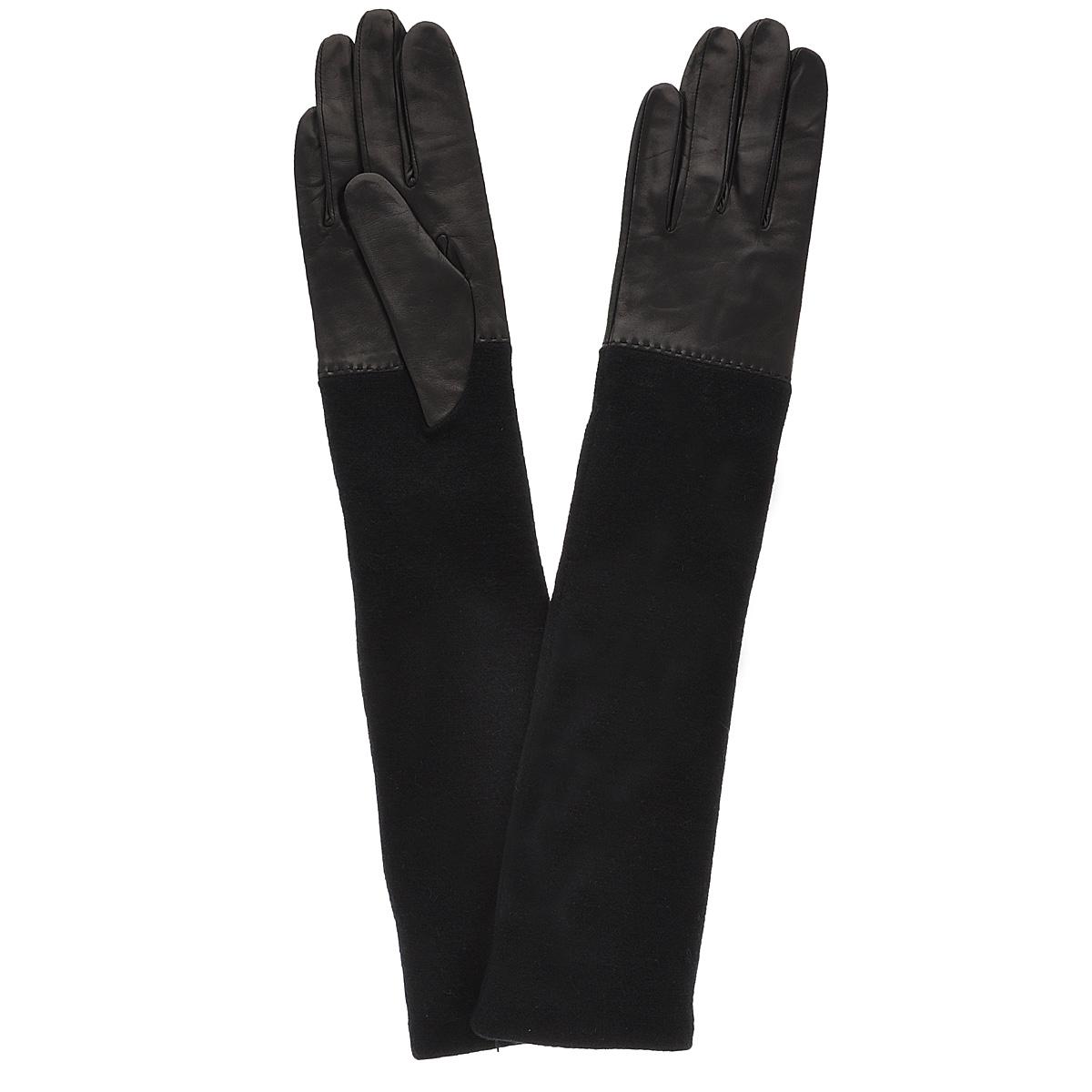 Перчатки81_OSTA_29/BLСтильные удлиненные перчатки Dali Exclusive выполнены из мягкой и приятной на ощупь натуральной кожи ягненка с текстильными манжетами и подкладкой из шелка. Такие перчатки подчеркнут ваш стиль и неповторимость.