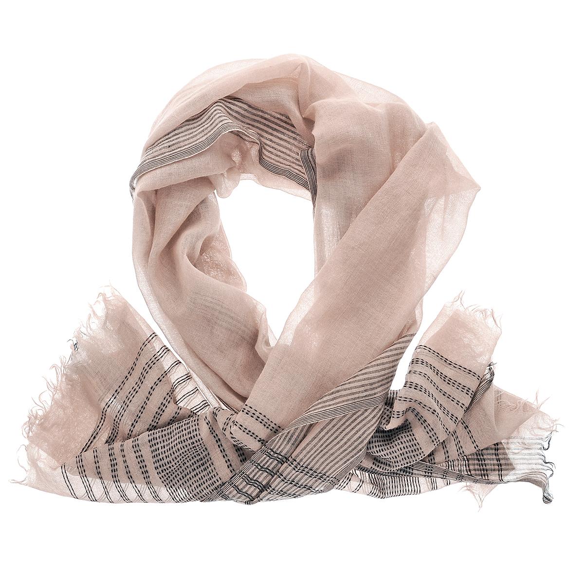 Палантин. ZW-WEMBZW-WEMB/BEСтильный палантин Michel Katana согреет в холодное время года, а также станет изысканным аксессуаром, который призван подчеркнуть вашу индивидуальность и стиль. Палантин выполнен из шерсти и декорирован оригинальным полосатым орнаментом. По краям изделие оформлено бахромой.