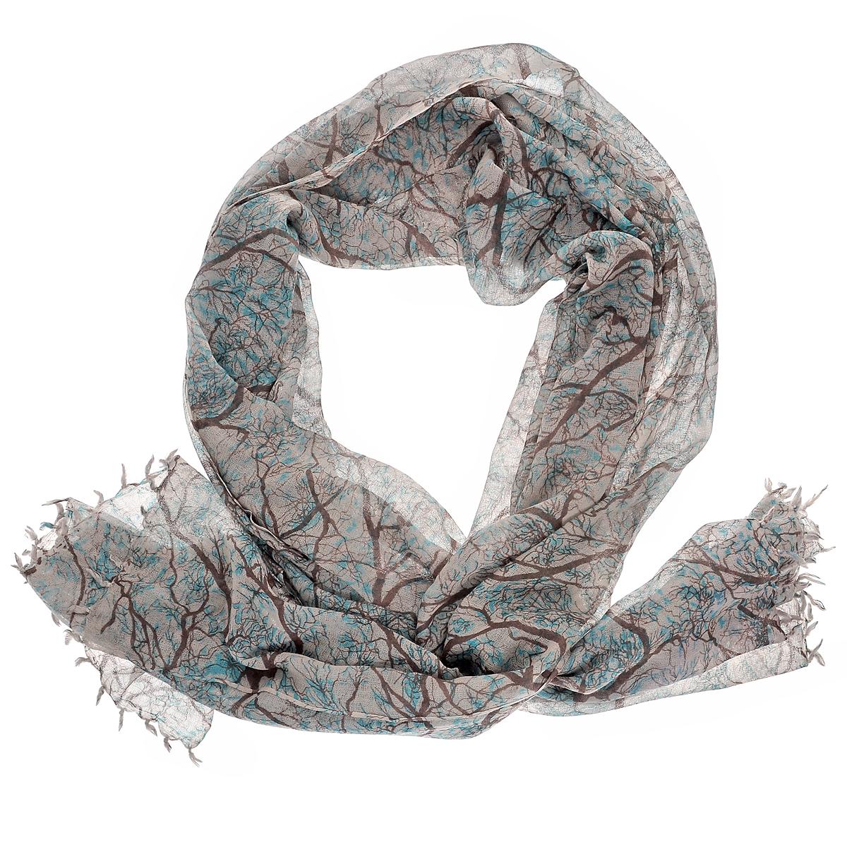 Палантин. W-TREE2W-TREE2/BLUEСтильный палантин Michel Katana согреет в холодное время года, а также станет изысканным аксессуаром, который призван подчеркнуть вашу индивидуальность и стиль. Палантин выполнен из шерсти и декорирован принтом с изображением деревьев. По краям изделие оформлено кистями.