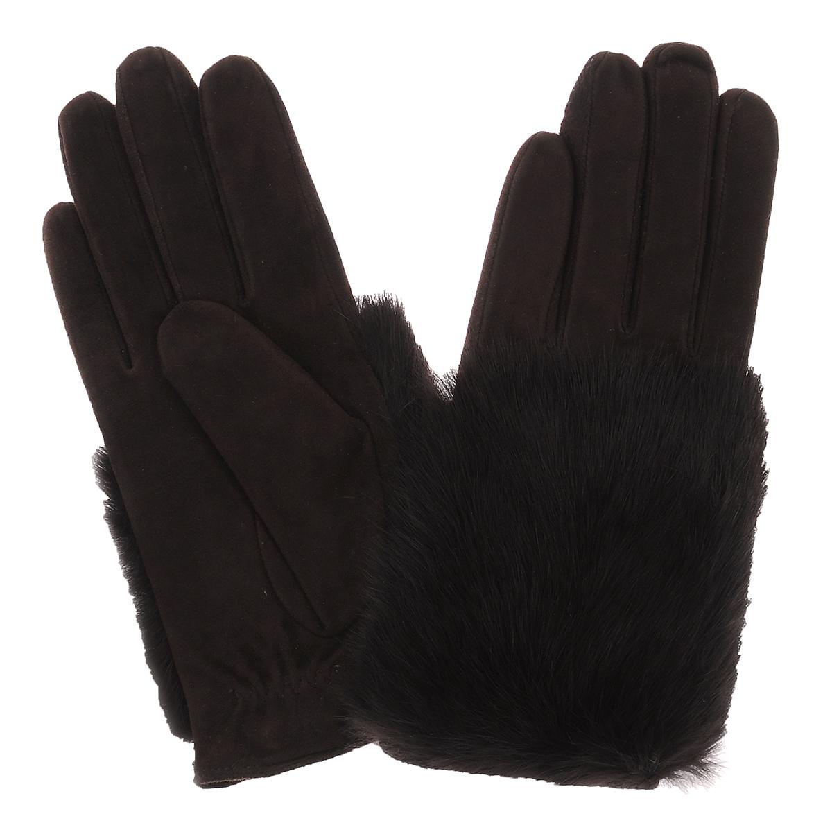 Перчатки женские. S11_EPURES11_EPURE/BRСтильные перчатки Dali Exclusive с шерстяной подкладкой выполнены из мягкой и приятной на ощупь натуральной замши. Лицевая сторона оформлена натуральным кроличьим мехом. Такие перчатки подчеркнут ваш стиль и неповторимость.