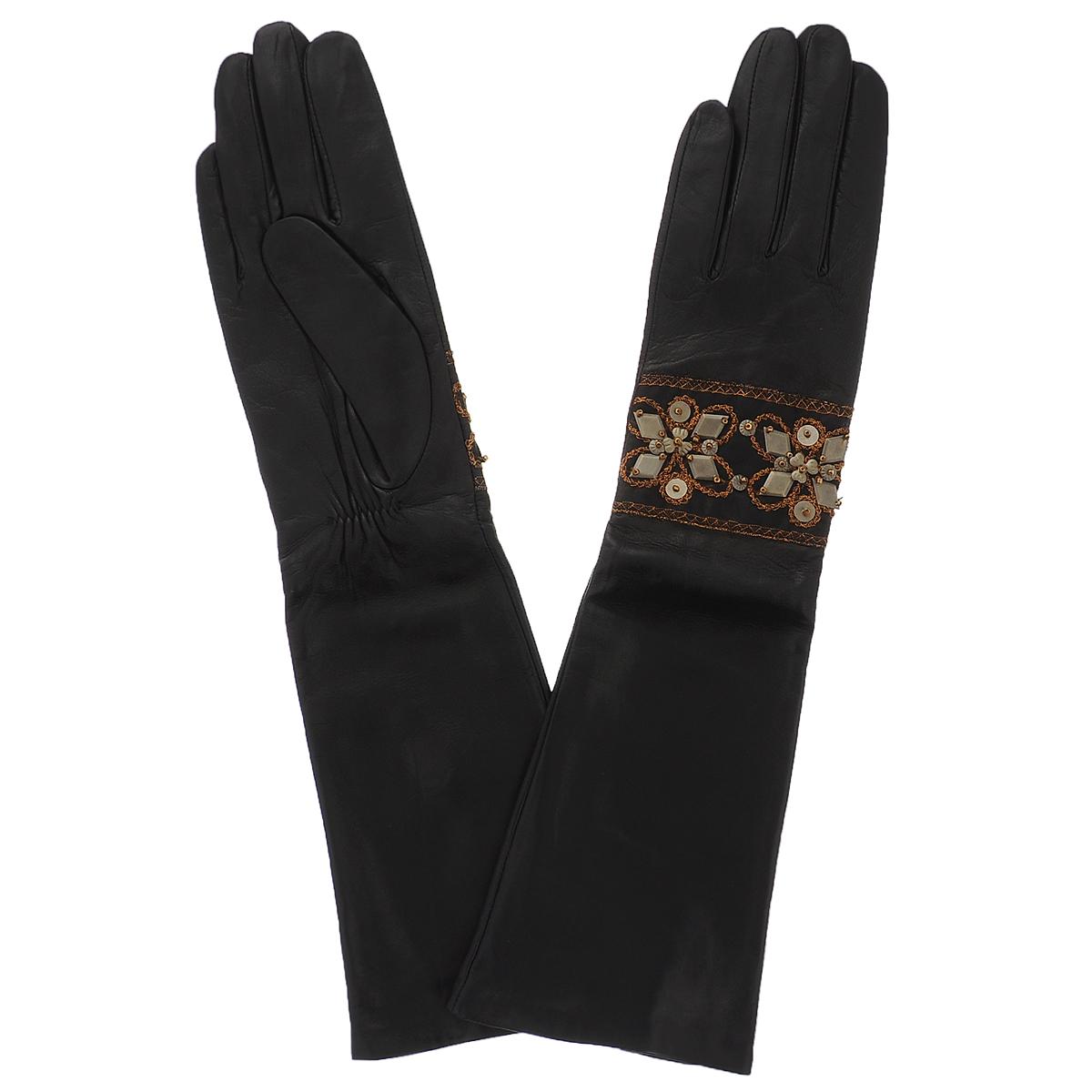 Перчатки81_UNE_21/BL//11Стильные удлиненные перчатки Dali Exclusive с шелковой подкладкой выполнены из мягкой и приятной на ощупь натуральной кожи ягненка. На внутренней стороне под большим пальцем сборка на резинке. Лицевая сторона декорирована лентой, расшитой блестящей нитью и аппликацией из металлических пластин. Такие перчатки подчеркнут ваш стиль и неповторимость.