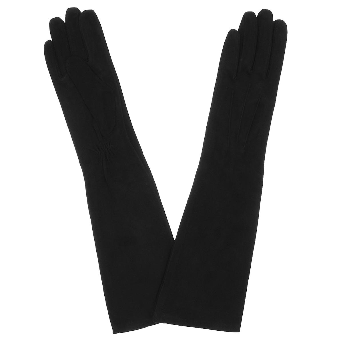 Перчатки женские. S81_SHERY 26S81_SHERY 26/BL//11Стильные удлиненные перчатки Dali Exclusive с шелковой подкладкой выполнены из мягкой и приятной на ощупь натуральной замши. На лицевой стороне перчатки оформлены тремя декоративными швами. На внутреней стороне под большим пальцем сборка на резинке. Такие перчатки подчеркнут ваш стиль и неповторимость.