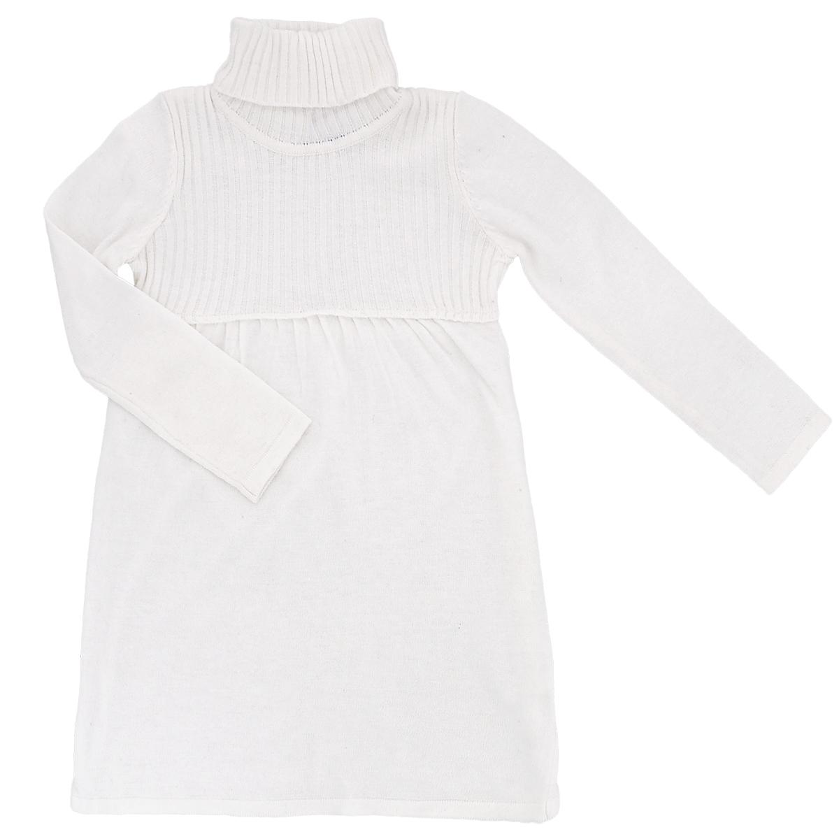 Платье для девочки. 214BBGC040214BBGC040_2Вязаное платье для девочки Button Blue идеально подойдет вашей маленькой принцессе. Изготовленное из сложного состава пряжи с добавлением вискозы, оно необычайно мягкое и приятное на ощупь, не сковывает движения малышки и позволяет коже дышать, не раздражает даже самую нежную и чувствительную кожу ребенка, обеспечивая ему наибольший комфорт. Платье трапециевидного кроя с длинными рукавами и воротником-гольф имеет завышенную талию, что гармонично дополняет образ. Завышенная талия и расклешенная юбка придают романтичный, нарядный образ платью. Верхняя часть платья связана крупной резинкой. Смешанный состав материала позволит ребенку чувствовать себя комфортно. Оригинальный современный дизайн и модная расцветка делают это платье модным и стильным предметом детского гардероба. В нем ваша малышка будет чувствовать себя уютно и комфортно, и всегда будет в центре внимания!