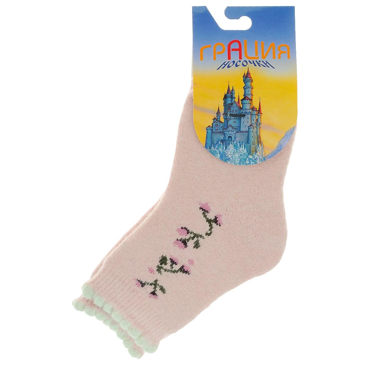 НоскиД 2302_24Детские теплые носки Грация - прекрасный вариант для вашего ребенка. Они изготовлены из пряжи смешанного состава, очень мягкие на ощупь, не раздражают даже самую нежную и чувствительную кожу. Лицевая сторона гладкая, а изнаночная - с мягкой теплой махрой. Носки имеют эластичную резинку с волнистым краем и плоский шов на мыске. Оформлена модель на щиколотке вязаным рисунком в виде цветов. Они послужат замечательным дополнением к детскому гардеробу!