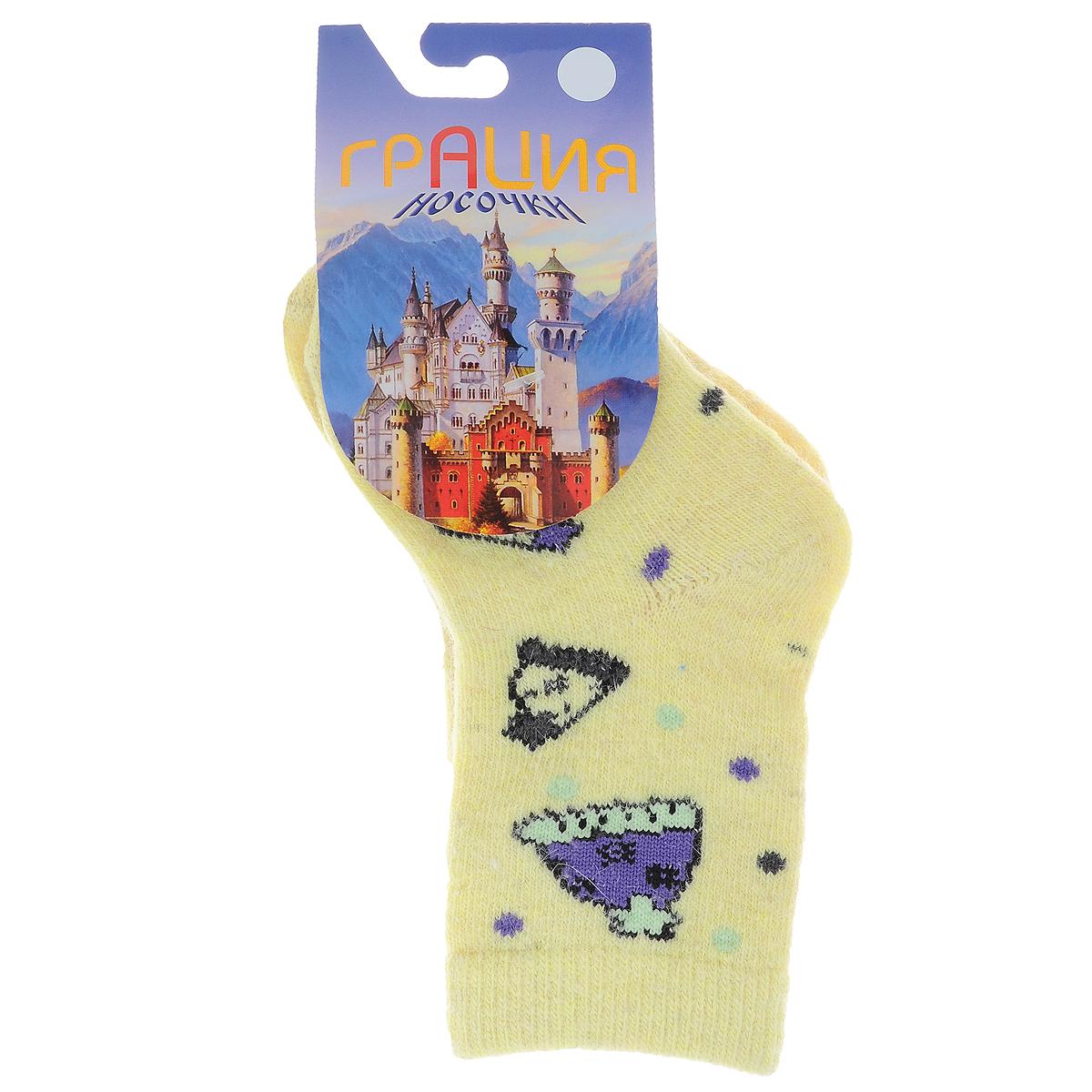 НоскиД 2303_10Детские теплые носки Грация - прекрасный вариант для вашего ребенка. Они изготовлены из экологически чистой пряжи смешанного состава, очень мягкие на ощупь, не раздражают даже самую нежную и чувствительную кожу. Носки имеют анатомическую двубортную резинку и плоский шов на мыске. Оформлена модель вязаным рисунком в виде шапочек и цветных горошин. Они послужат замечательным дополнением к детскому гардеробу и сохранят ножки вашего ребенка в тепле!