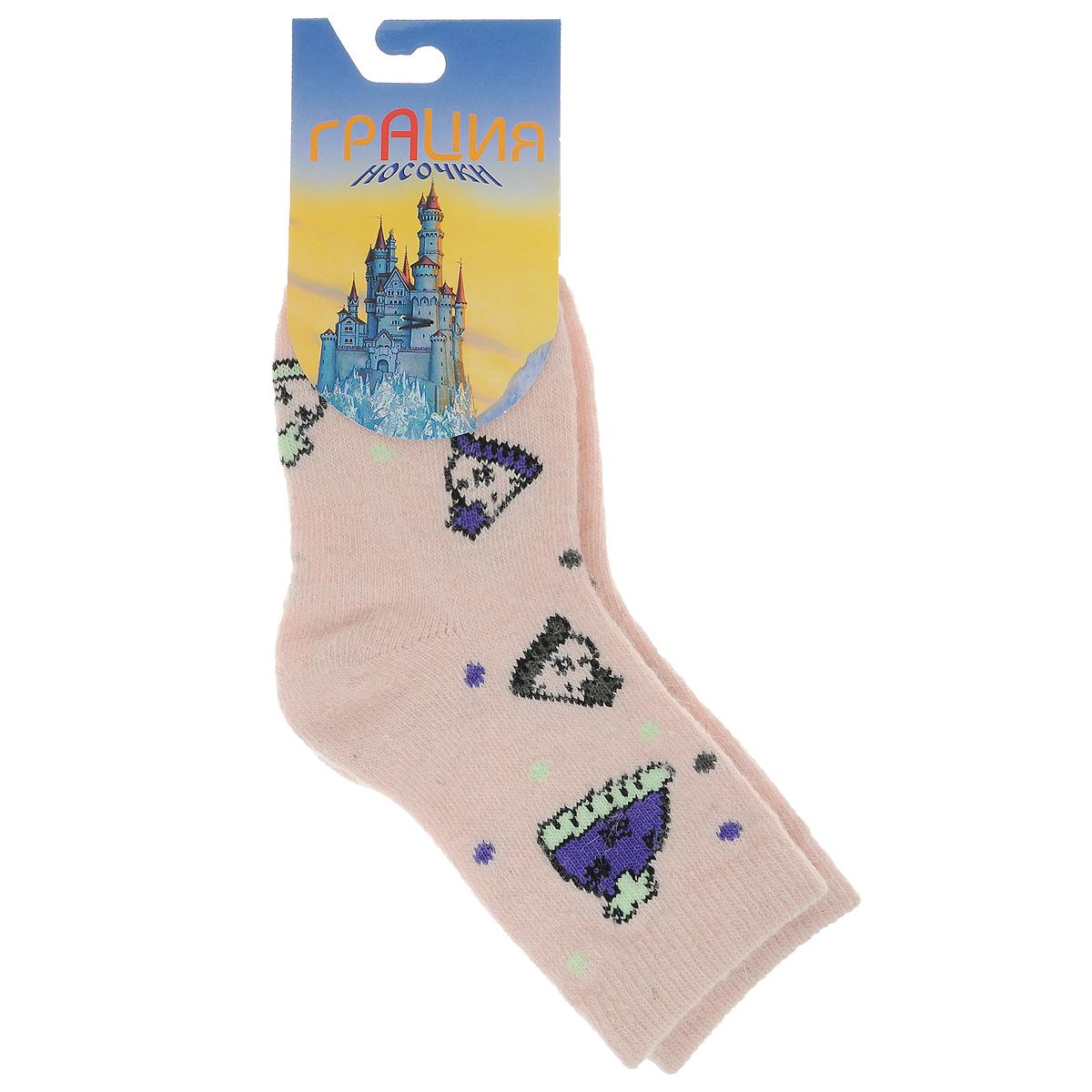 Д 2303_10Детские теплые носки Грация - прекрасный вариант для вашего ребенка. Они изготовлены из экологически чистой пряжи смешанного состава, очень мягкие на ощупь, не раздражают даже самую нежную и чувствительную кожу. Носки имеют анатомическую двубортную резинку и плоский шов на мыске. Оформлена модель вязаным рисунком в виде шапочек и цветных горошин. Они послужат замечательным дополнением к детскому гардеробу и сохранят ножки вашего ребенка в тепле!