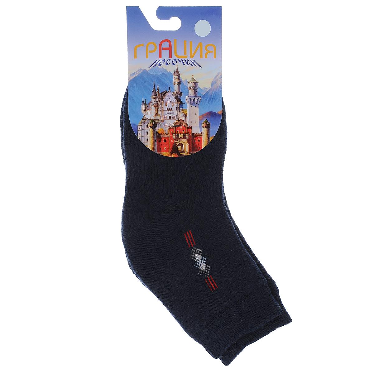 НоскиД 2063_15Детские теплые носки Грация - прекрасный вариант для вашего ребенка. Они изготовлены из пряжи смешанного состава, очень мягкие на ощупь, не раздражают даже самую нежную и чувствительную кожу. Лицевая сторона гладкая, а изнаночная - с мягкой теплой махрой. Носки имеют эластичную резинку и плоский шов на мыске. Оформлена модель на щиколотке вязаным оригинальным рисунком. Они послужат замечательным дополнением к детскому гардеробу!