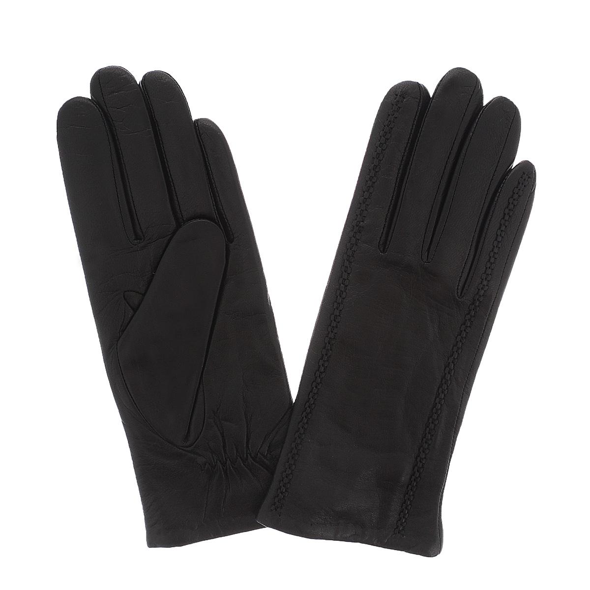 Перчатки11_CAMBOLE/NEWСтильные перчатки Dali Exclusive с подкладкой из шерсти выполнены из мягкой и приятной на ощупь натуральной кожи ягненка. С лицевой стороны перчатки оформлены декоративными швами. Такие перчатки подчеркнут ваш стиль и неповторимость.