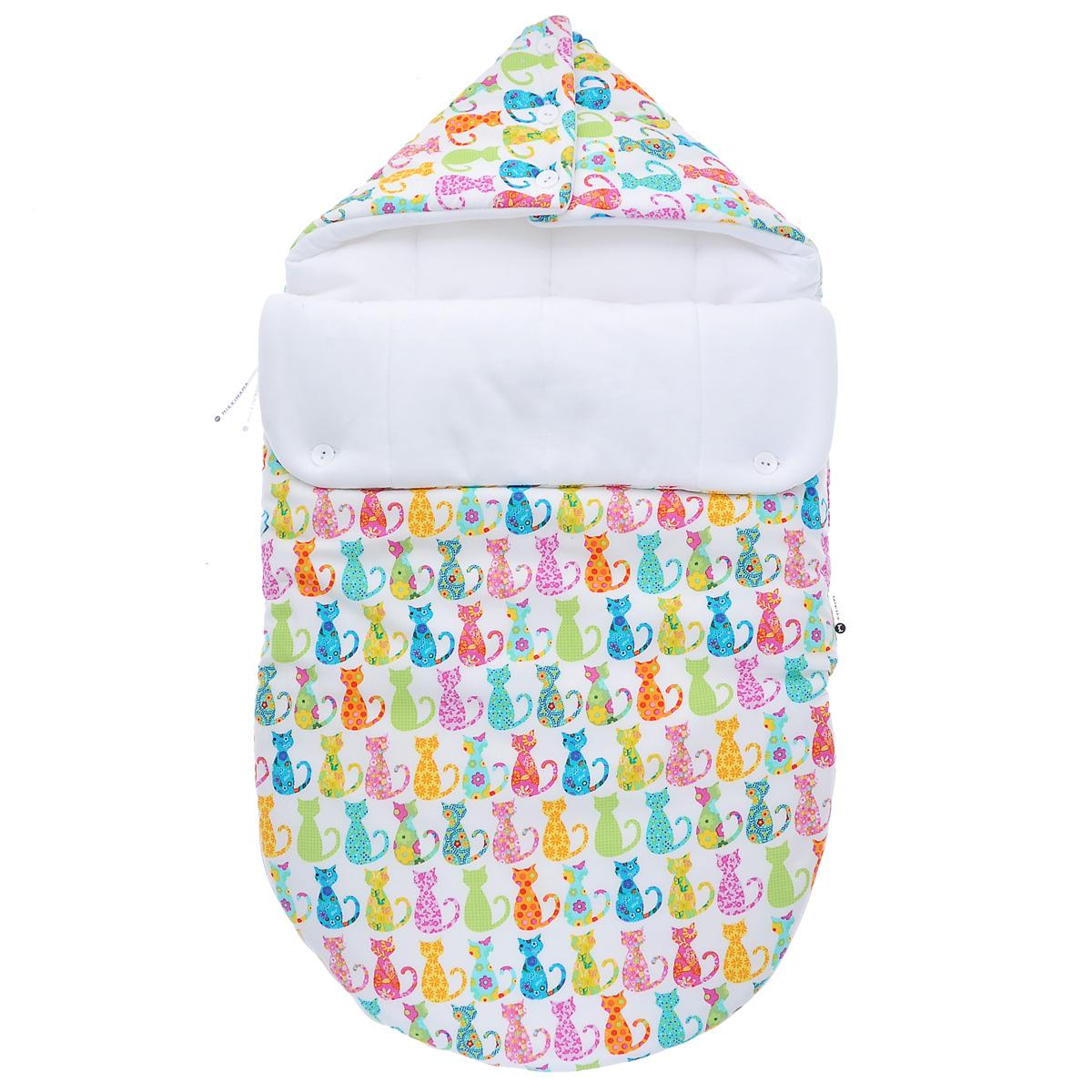 Конверт для новорожденного Диско-кошки. 100100571100100571Конверт для новорожденного Mikkimama Диско-кошки порадует даже самых требовательных мам и согреет малыша в холодную погоду. Изделие подойдет как для выписки малыша из роддома, так и для дальнейших прогулок на руках и в коляске. Конверт изготовлен из хлопка на хлопковой подкладке. В качестве утеплителя используются альполюкс и Polartec. Альполюкс - экологически чистый утеплитель премиум класса. Уникальное сочетание натуральной шерсти мериноса и микроволокна помогают поддержать оптимальную для новорожденного температуру: малышу теплее на улице даже в самый сильный мороз. Polartec используется для сохранения тепла. Он не намокает, не впитывает запахи, прекрасно сохраняет форму и объем, и при этом дышит и сохраняет тепло и не хуже чем шерсть. Верхняя часть конверта может использоваться в качестве капюшона, с помощью пластиковых пуговиц, она принимает вид треугольного капюшона. Конверт закрывается при помощи пластиковой застежки-молнии и при необходимости он...