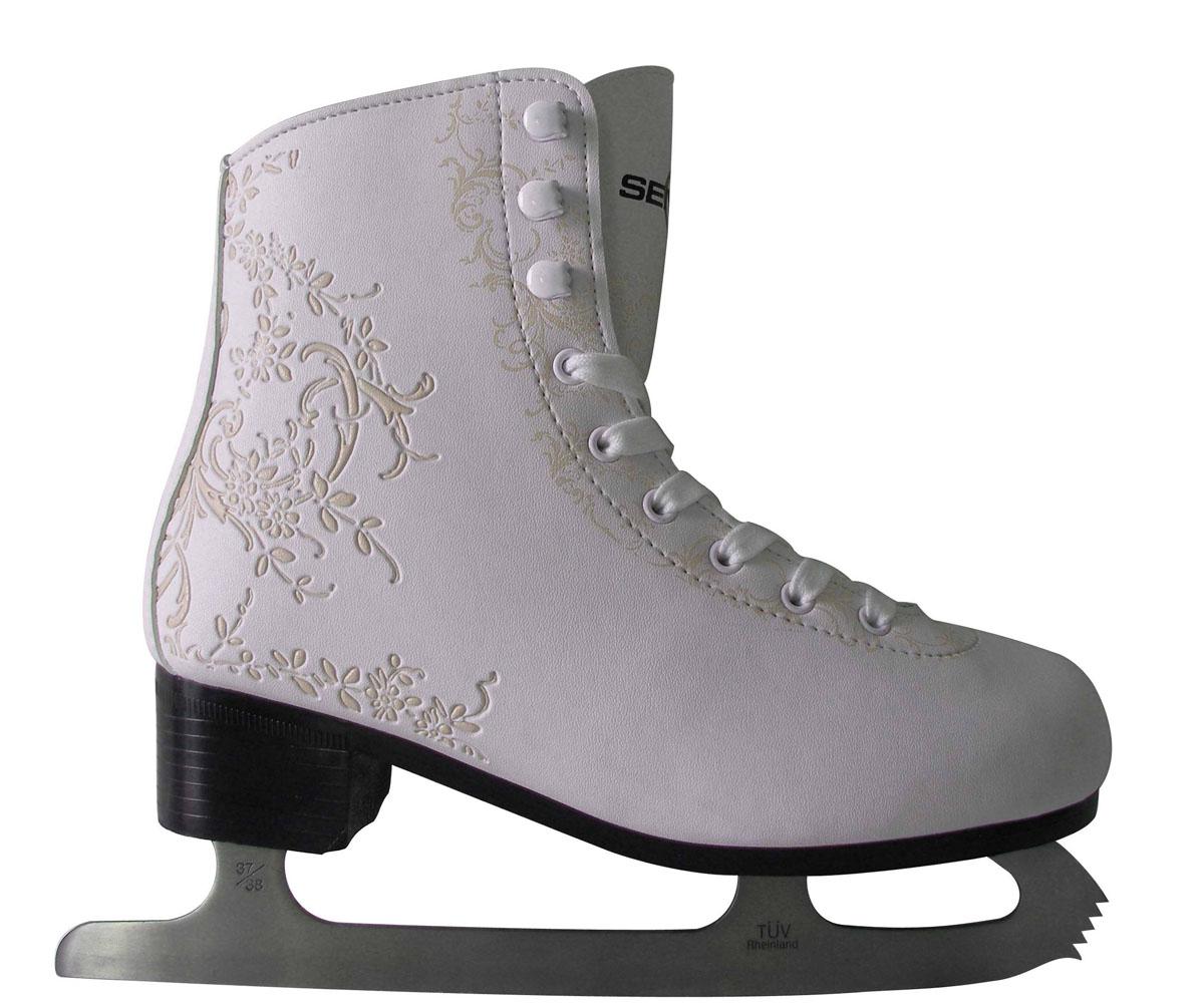 Коньки фигурные. PW-224PW-224Высокий классический ботинок идеально подойдет для любительского катания. Модель снабжена системой быстрой шнуровки и поддержкой голеностопа. Верх ботинка выполнен из высококачественной искусственной кожи, подошва - твердый пластик. Лезвие изготовлено из нержавеющей стали со специальным покрытием, придающим дополнительную прочность.