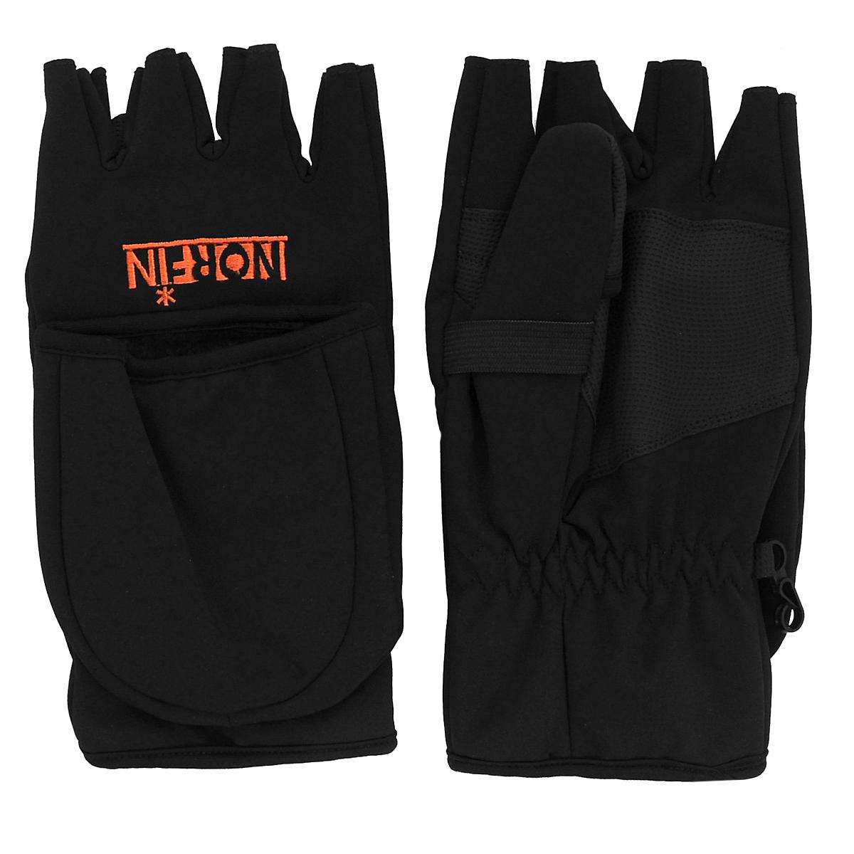 Перчатки-варежки мужские. 703061703061Мужские перчатки-варежки Norfin защитят ваши руки от холода. Перчатки выполнены из мембранного материала Soft Shell, внутренняя часть которого флис. На запястье модель дополнена эластичной вставкой. Изделие представляет собой перчатки без пальцев, к внешней стороне которых крепится капюшон, накинув его на пальцы, перчатки превращаются в варежки. В таких оригинальных перчатках-варежках вам будет тепло и уютно!