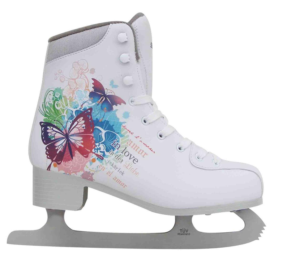 Коньки фигурные. PW-232PW-232Высокий классический ботинок идеально подойдет для любительского катания. Модель снабжена системой быстрой шнуровки и поддержкой голеностопа. Верх ботинка выполнен из высококачественной искусственной кожи, подошва - твердый пластик. Лезвие изготовлено из нержавеющей стали со специальным покрытием, придающим дополнительную прочность.
