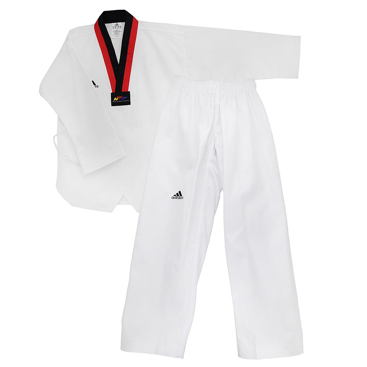 Кимоно для таэквондоadiTS01-WH/RD-BKКимоно для тхэквондо adidas Taekwondo Adi-Start состоит из рубашки и брюк. Просторная рубашка без пояса с V-образным вырезом горловин, боковыми разрезами и длинными рукавами изготовлена из плотного полиэстера с добавлением хлопка. Боковые швы, края рукавов и полочка укреплены дополнительными строчками. В области талии по спинке рубашка дополнена эластичной резинкой для регулирования ширины. Просторные брюки особого покроя имеют широкий эластичный пояс, регулируемый скрытым шнурком. Низ брючин с внутренней стороны укреплен дополнительными строчками. Кимоно рекомендуется для тренировок в зале.