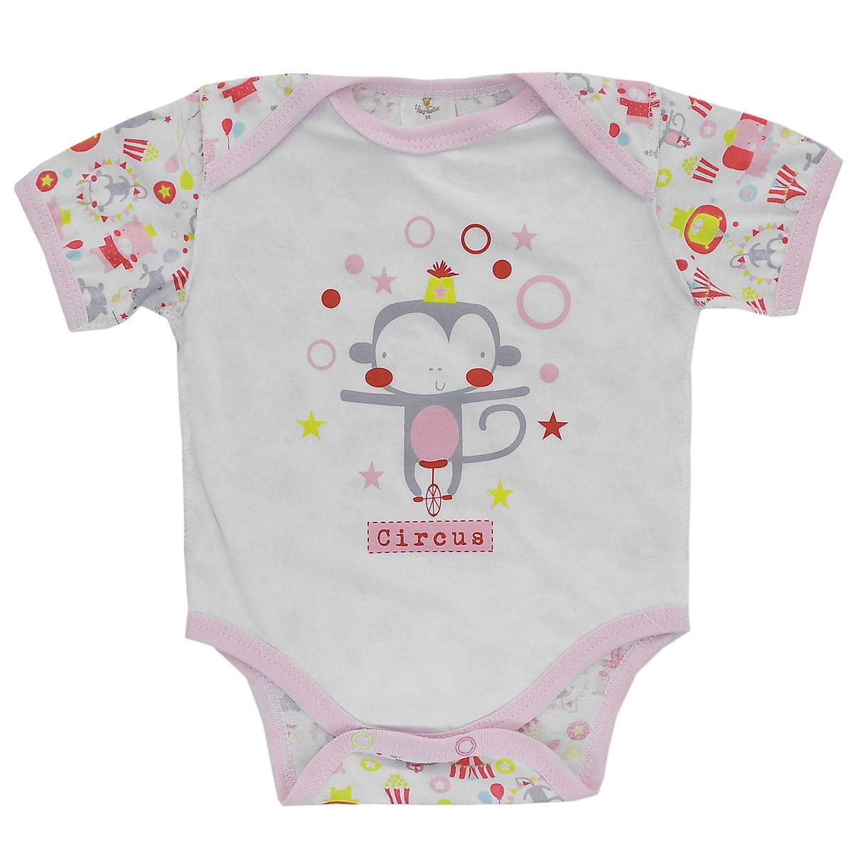 Боди-футболка для девочки. 94429442Детское боди-футболка КотМарКот для девочки с короткими рукавами послужит идеальным дополнением к гардеробу малышки, обеспечивая ей наибольший комфорт. Боди, выполненное швами наружу, изготовлено из натурального хлопка - кулирки, благодаря чему оно необычайно мягкое и легкое, не раздражает нежную кожу ребенка и хорошо вентилируется, а эластичные швы приятны телу малышки и не препятствуют ее движениям. Удобные запахи на плечах и застежки-кнопки на ластовице помогают легко переодеть младенца или сменить подгузник. На груди боди оформлено оригинальным принтом с изображением цирковой обезьянки. Боди полностью соответствует особенностям жизни малютки в ранний период, не стесняя и не ограничивая его в движениях. В нем ваш ребенок всегда будет в центре внимания.