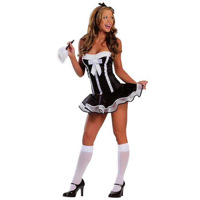 Карнавальный костюм27137У вас намечается маскарад или веселая вечеринка? Маскарадный костюм Горничная, выполненный из полиэстера, идеально подойдет для подобного мероприятия. Костюм состоит из платья черно-белого цвета. Подол платья декорирован белой сетчатой тканью. Костюм привлечет к вам внимание и не оставит незаметной среди остальных героев праздника. В таком костюме веселое настроение и масса положительных эмоций вам будут обеспечены! Костюм выполнен из ткани-стрейч, что обеспечивает его идеальную посадку на любую фигуру.