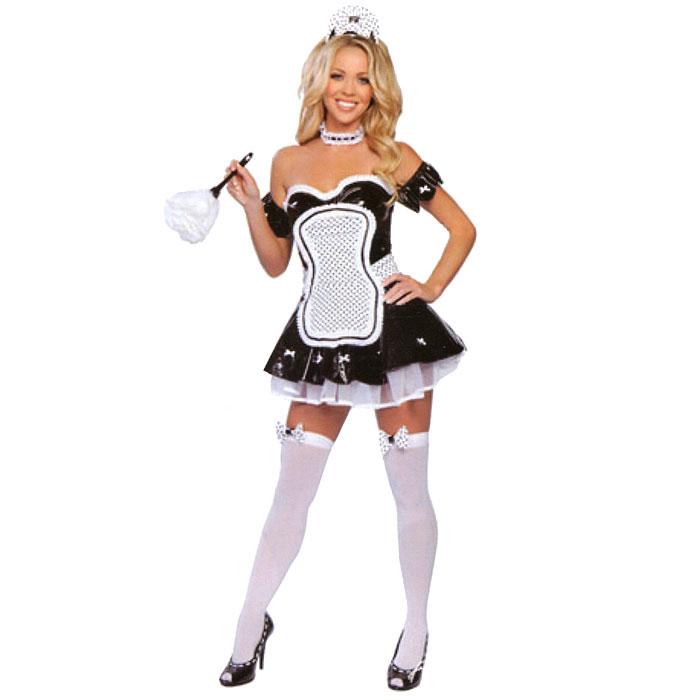 Маскарадный костюм Горничная. 2713827138У вас намечается маскарад или веселая вечеринка? Маскарадный костюм Горничная, выполненный из полиэстера, идеально подойдет для подобного мероприятия. Костюм состоит из платья, фартука, головного убора и бархотки на шею. Платье черно-белого цвета украшено бантиками. Нижний подол выполнен из сетки белого цвета. Головной убор выполнен в виде белого банта в черный горошек и крепится на голове при помощи пластикового ободка. Фартук белого цвета в черный горошек крепится при помощи завязок-лент. Бархотка пришита на резинку. Костюм привлечет к вам внимание и не оставит незаметной среди остальных героев праздника. В таком костюме веселое настроение и масса положительных эмоций вам будут обеспечены!