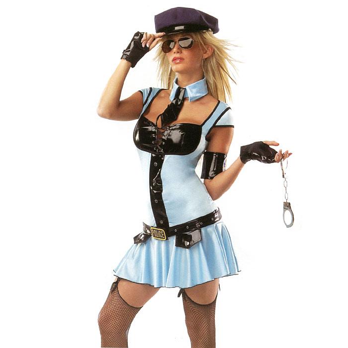 Маскарадный костюм Полицейская. 2715327153Маскарадный костюм Полицейская, выполненный из полиэстера черно-голубого цвета, идеально подойдет для карнавальной вечеринки. Костюм состоит из платья, шляпы, перчаток, воротника с галстуком. Костюм привлечет к вам внимание и не оставит незаметным среди остальных героев праздника. В таком костюме веселое настроение и масса положительных эмоций вам будут обеспечены!