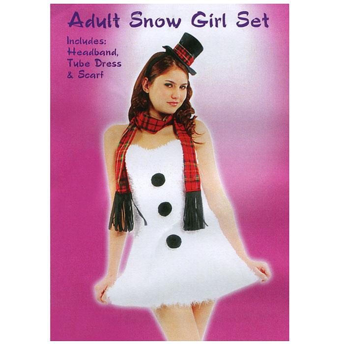 Маскарадный костюм Снеговик. 2645926459У вас намечается маскарад или веселая вечеринка? Маскарадный костюм Снеговик, выполненный из полиэстера, идеально подойдет для подобного мероприятия. Костюм состоит из платья, шляпки и шарфа. Платье белого цвета декорировано пухом по низу и тремя черными помпонами. Шляпка выполнена из атласной ткани черного цвета и декорирована полоской клетчатой ткани. Крепится шляпка при помощи ободка. Клетчатый шарф декорирован черными кисточками. Костюм привлечет к вам внимание и не оставит незаметной среди остальных героев праздника. В таком костюме веселое настроение и масса положительных эмоций вам будут обеспечены!